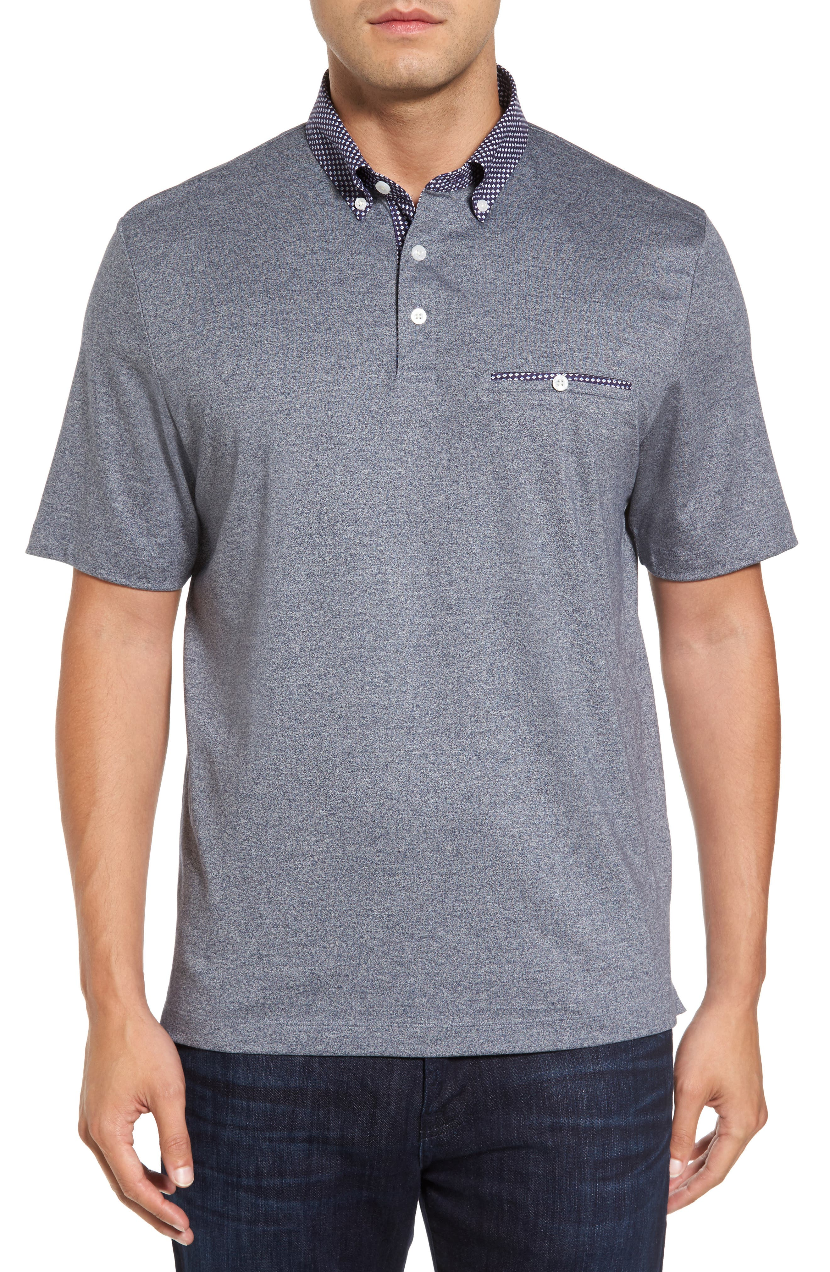 Heathered Button Down Polo,                         Main,                         color, Blue