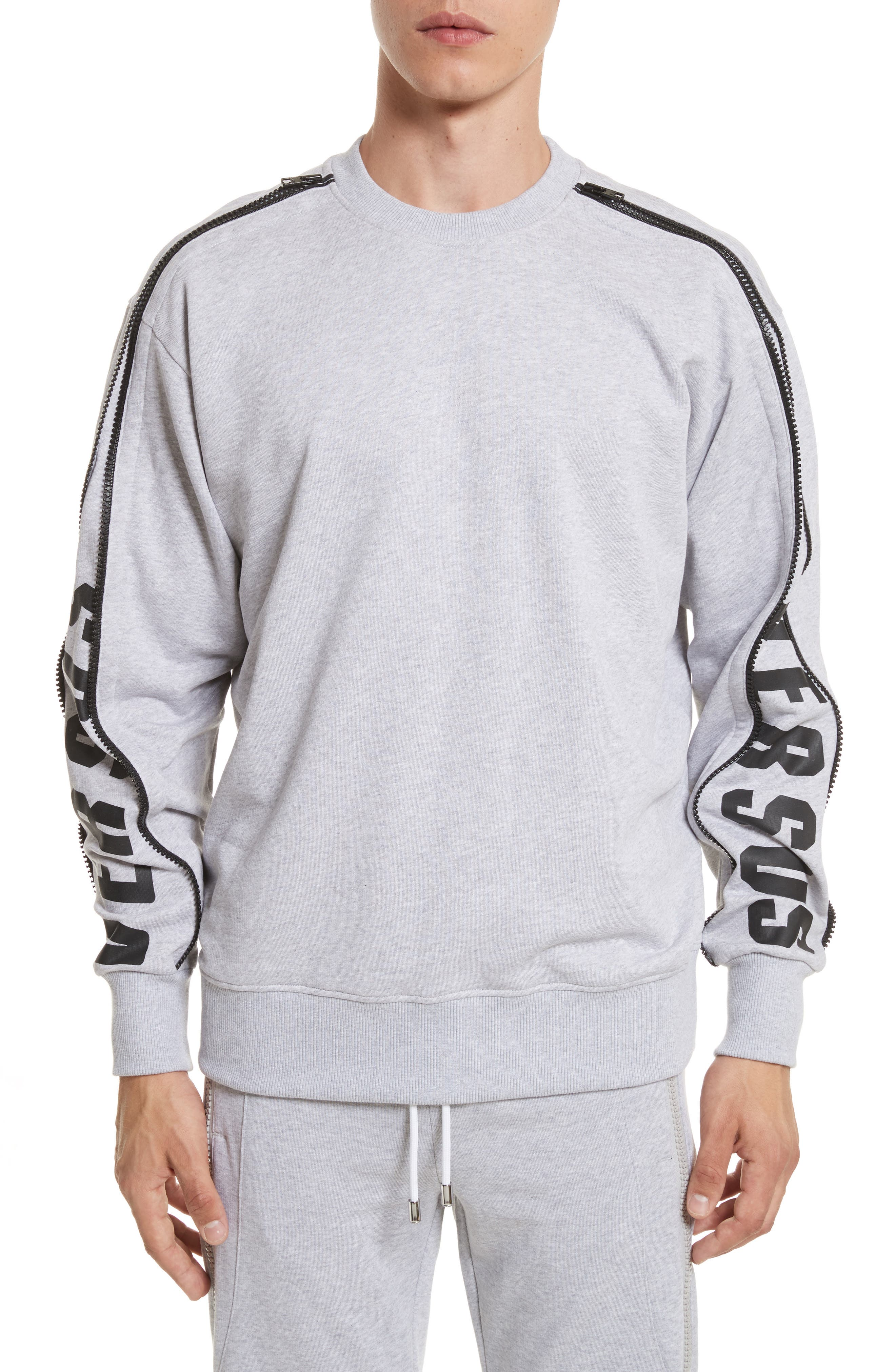 VERSUS by Versace Zip Sleeve Crewneck Sweatshirt,                             Main thumbnail 1, color,                             Grey