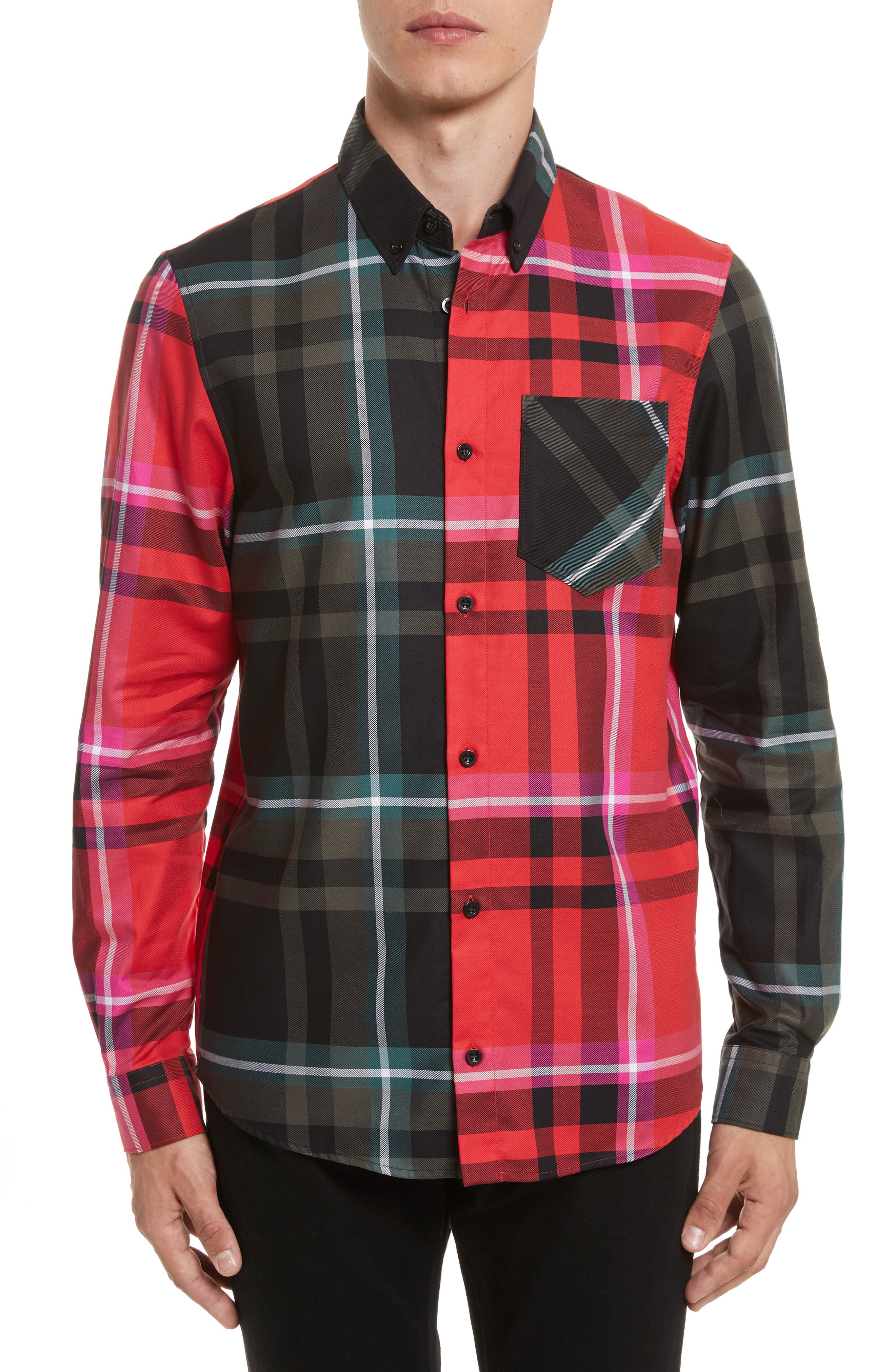 VERSUS by Versace Plaid Woven Shirt,                             Main thumbnail 1, color,                             Red Multi
