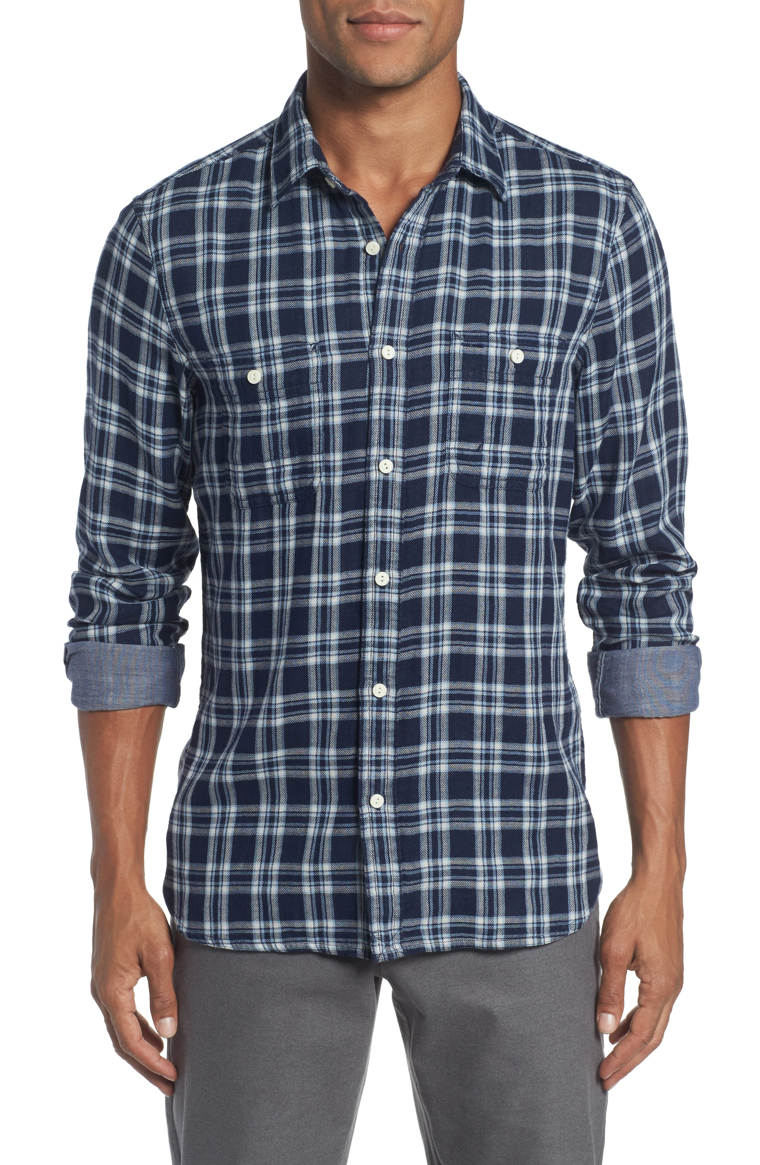 Trim Fit Workwear Duofold Check Sport Shirt,                         Main,                         color, Navy White Chambray Duofold