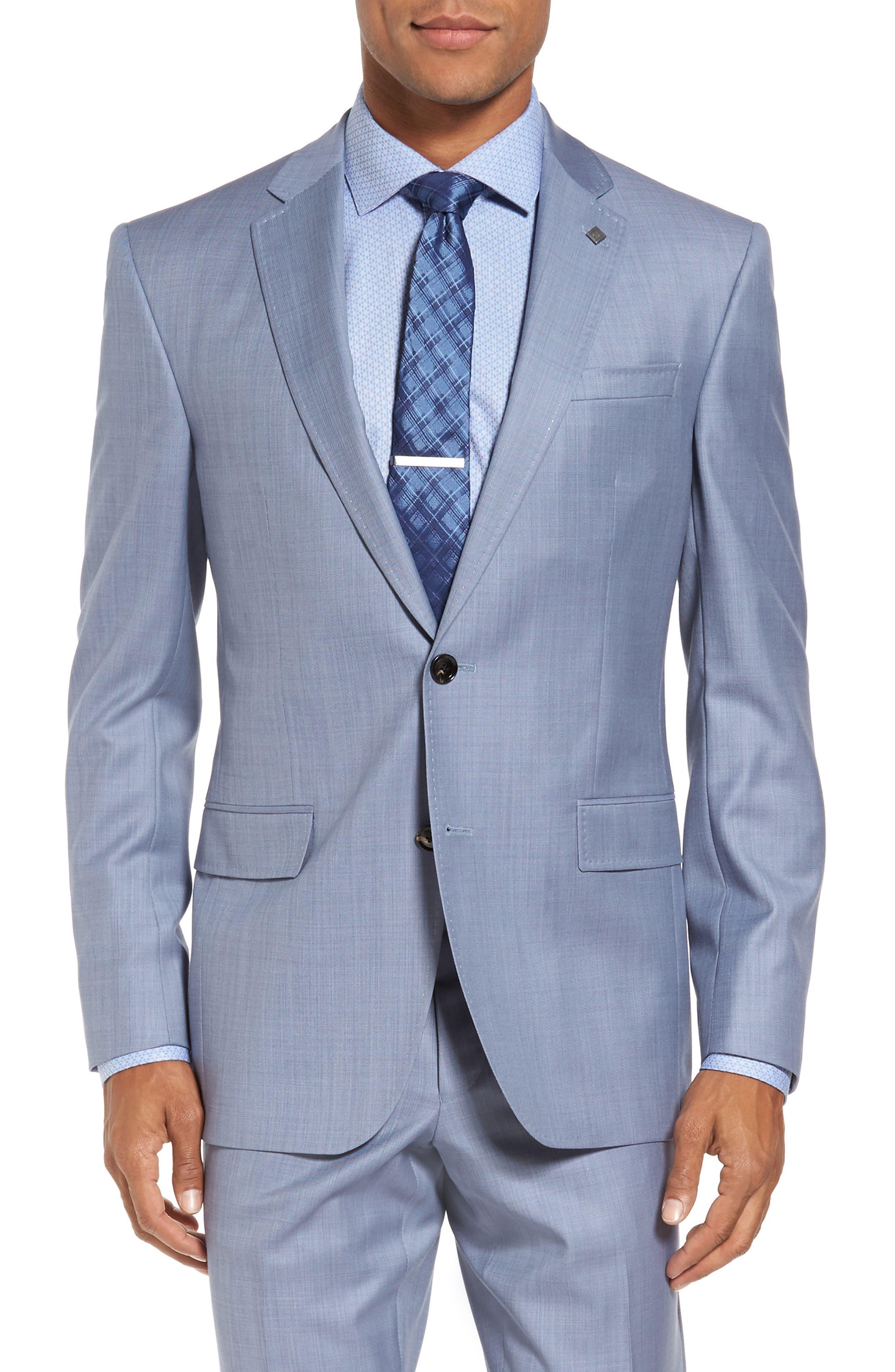 Trim Fit Solid Wool Suit,                             Alternate thumbnail 5, color,                             Light Blue