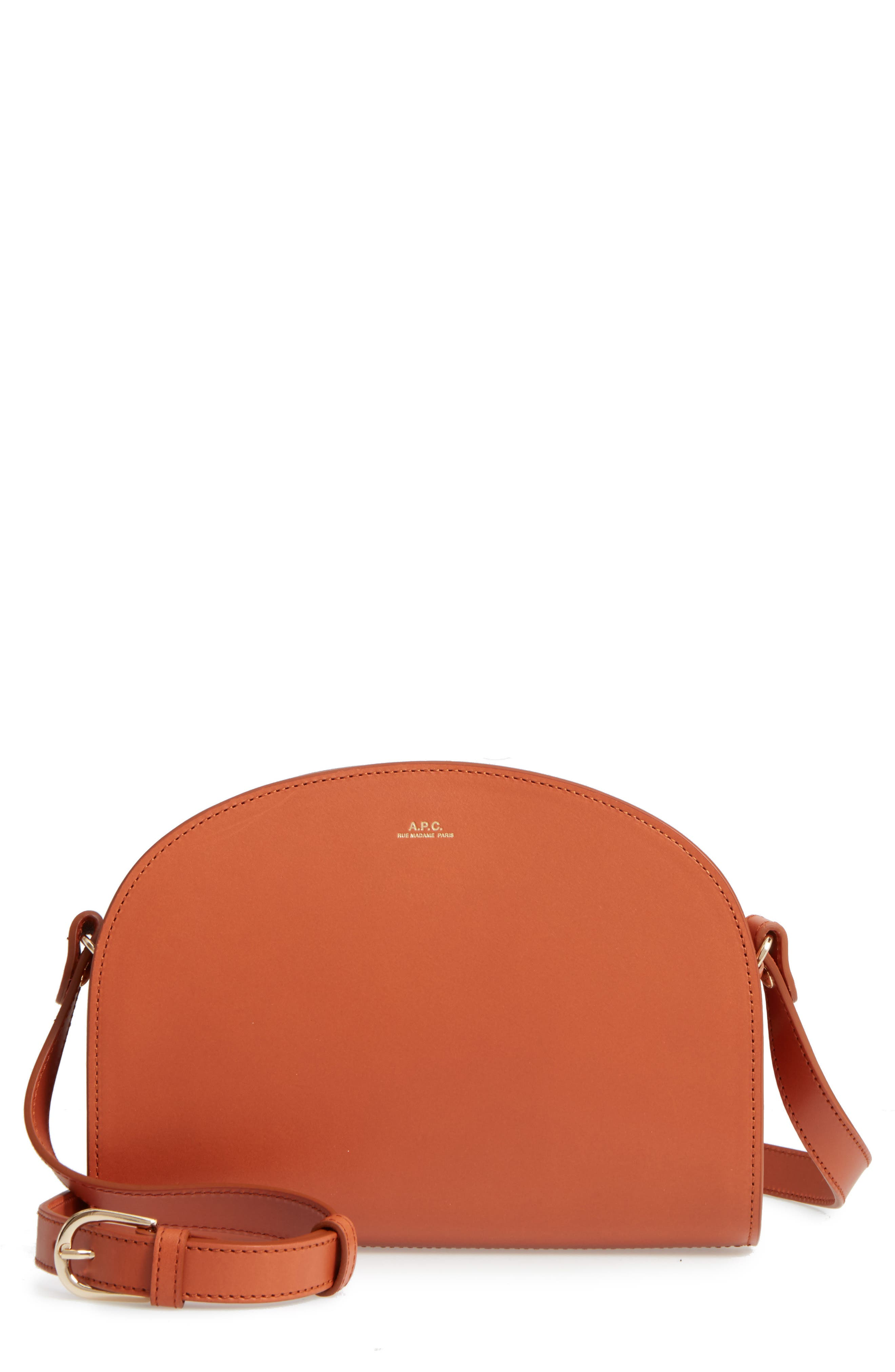 Sac Demi Lune Leather Crossbody Bag,                         Main,                         color, Caramel