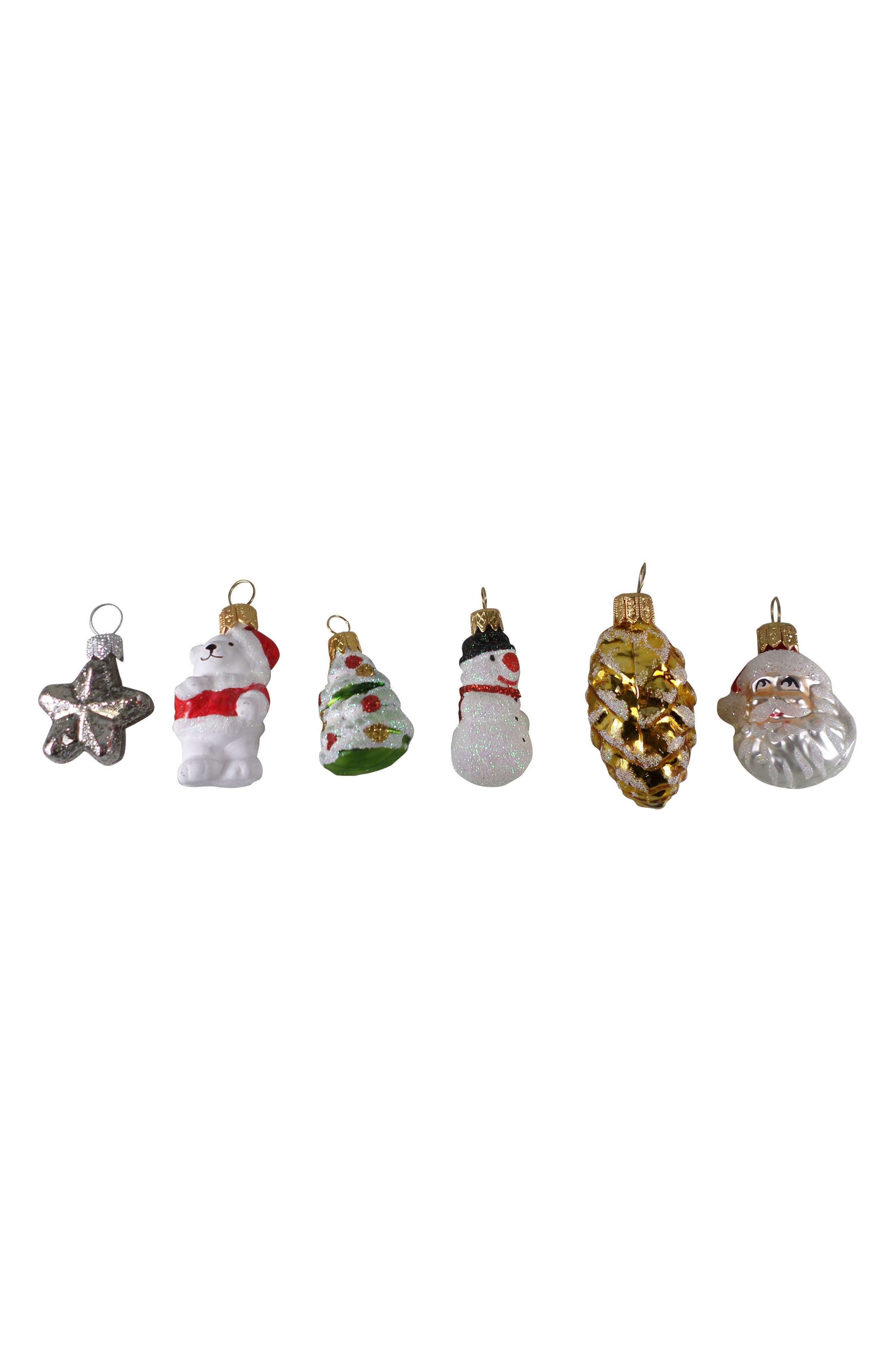 Set of 6 Mini Handblown Glass Christmas Ornaments,                         Main,                         color, Red Multi