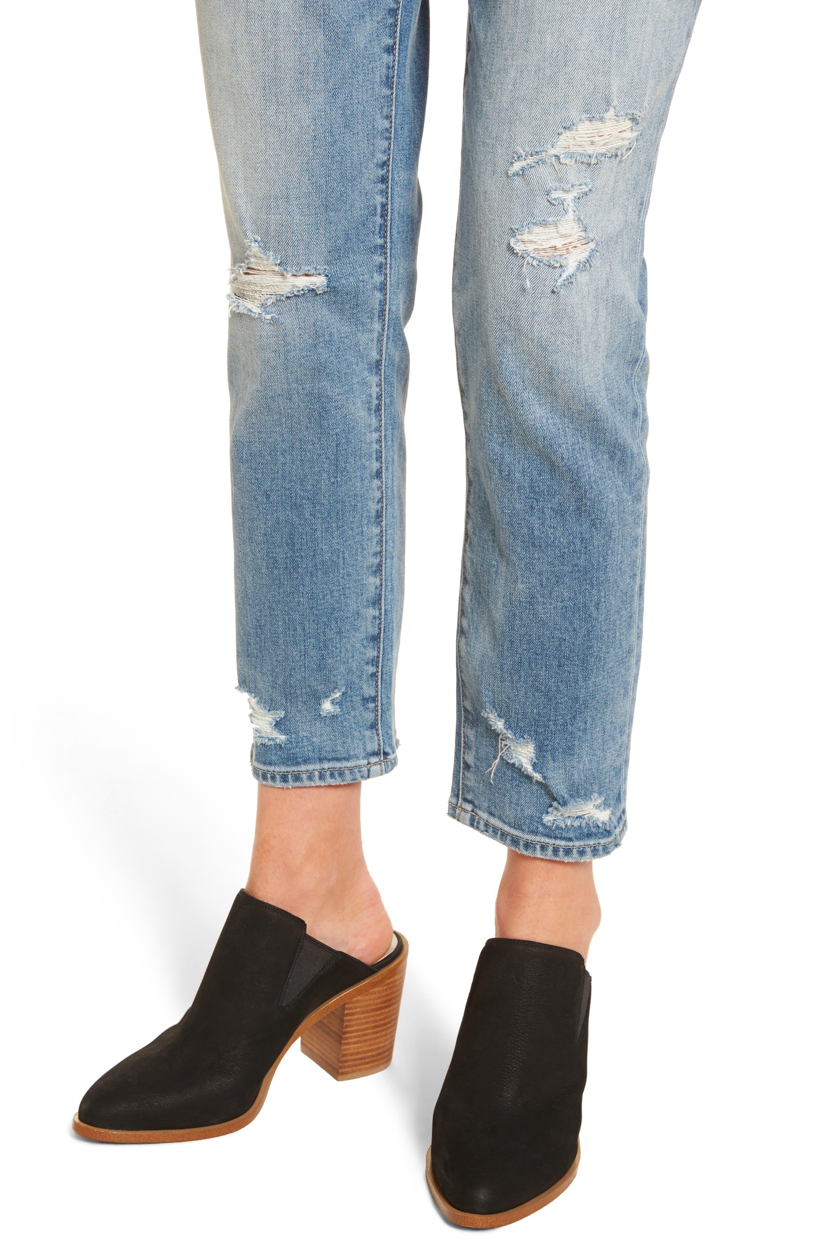 Loose Fit Slim Jeans,                             Alternate thumbnail 4, color,                             Gravel Light Destroy
