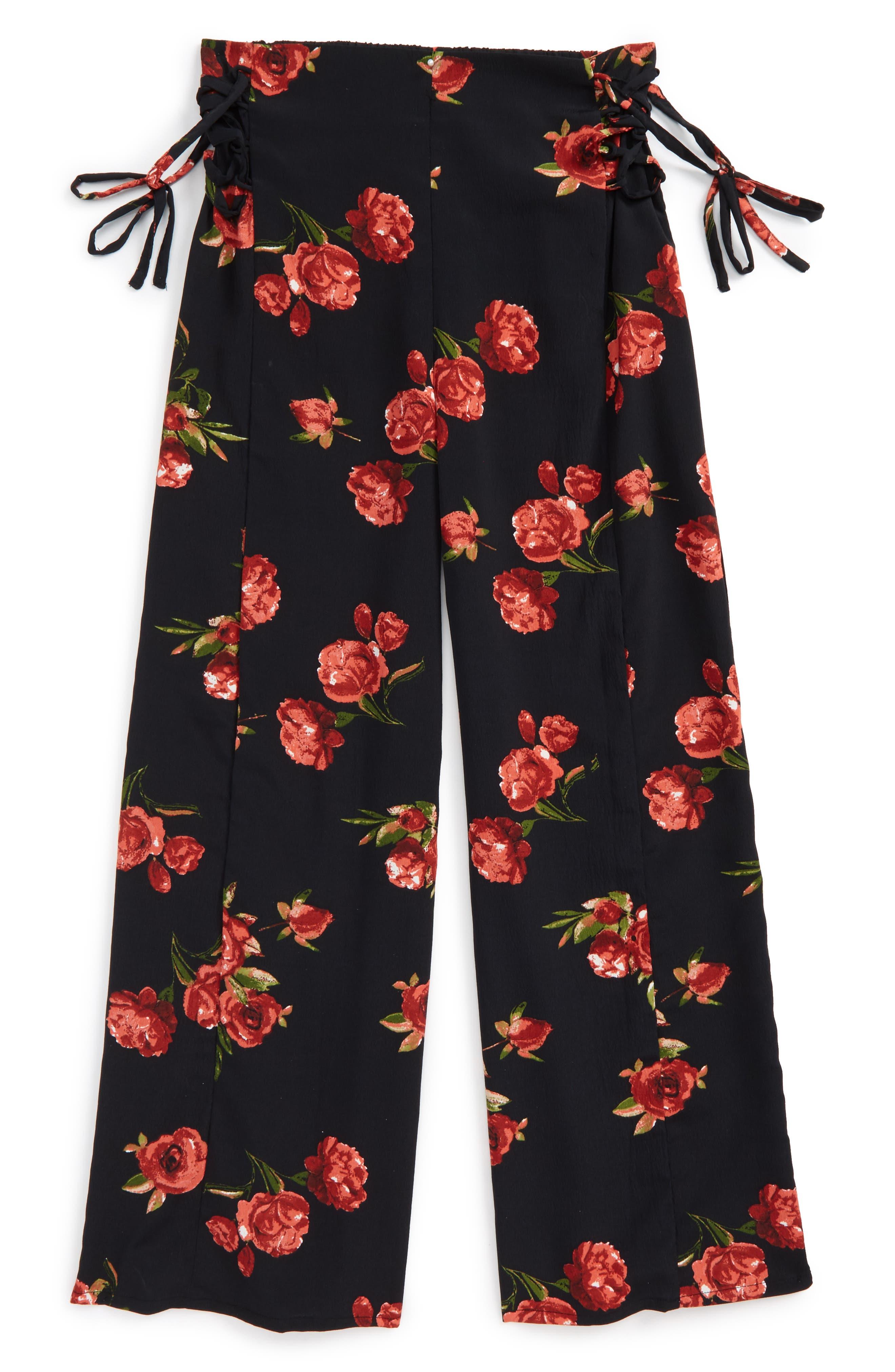 Main Image - Zoe and Rose Rose Print Wide Leg Pants (Big Girls)