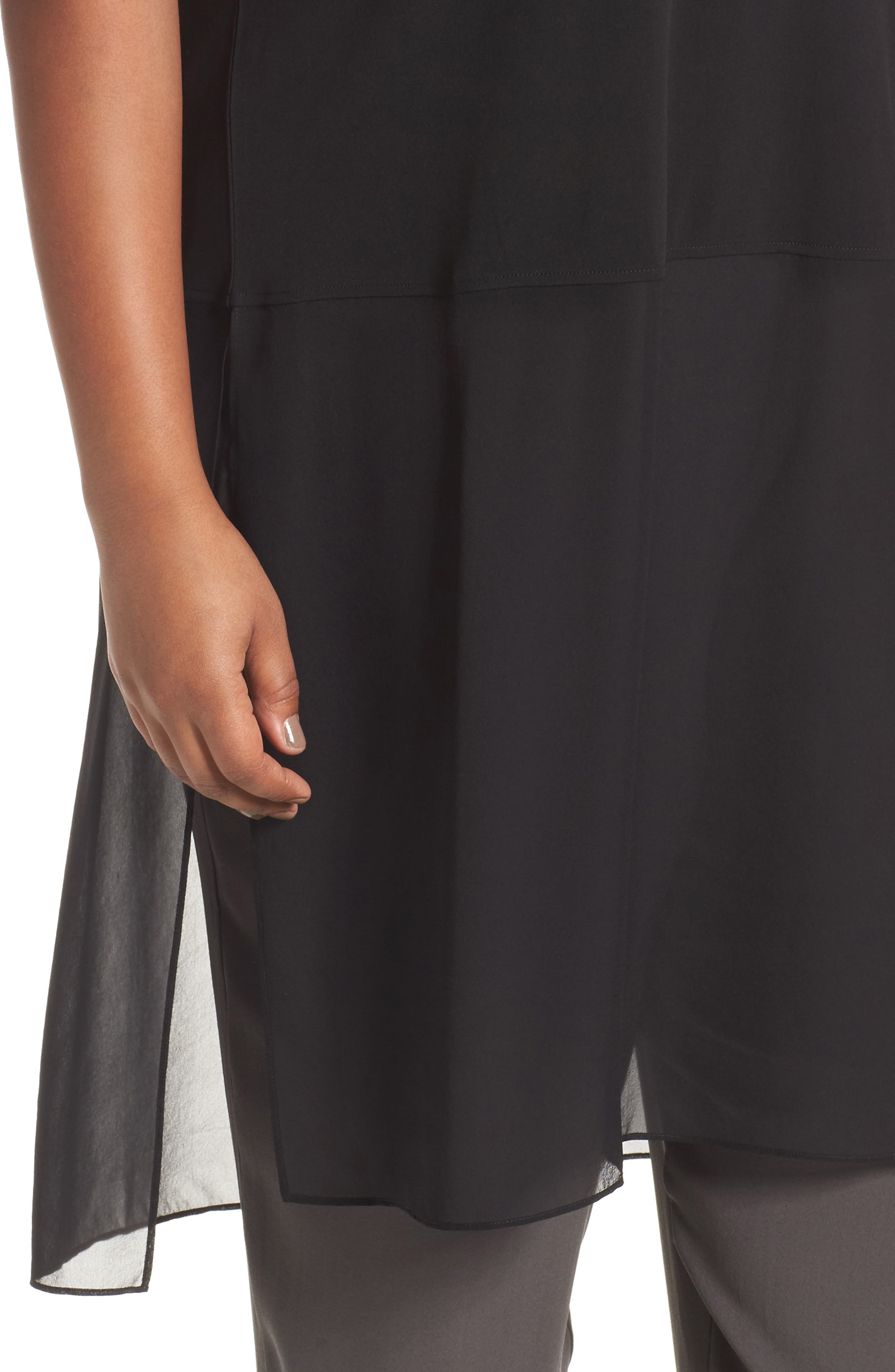 Alternate Image 4  - Eileen Fisher Silk Jersey & Chiffon Tunic (Plus Size)