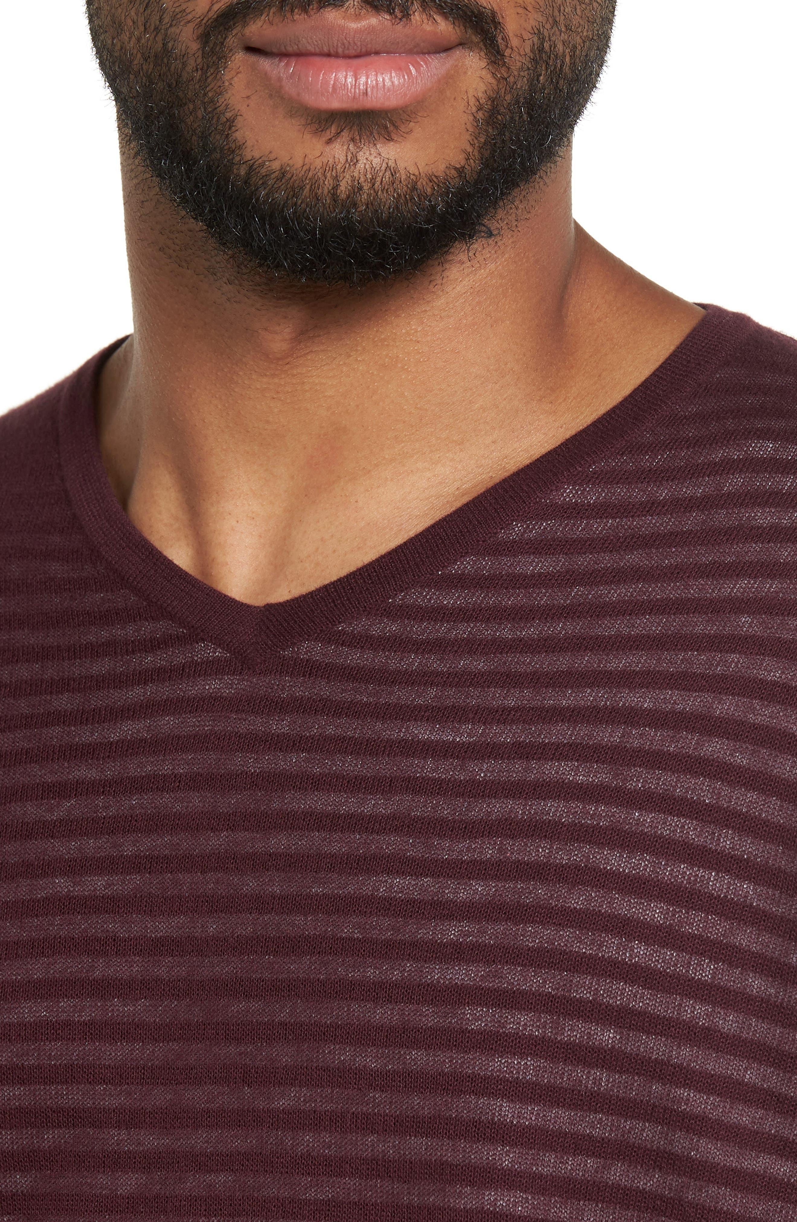 Stripe V-Neck Double Layer Sweater,                             Alternate thumbnail 4, color,                             Burgundy Stem Stripe