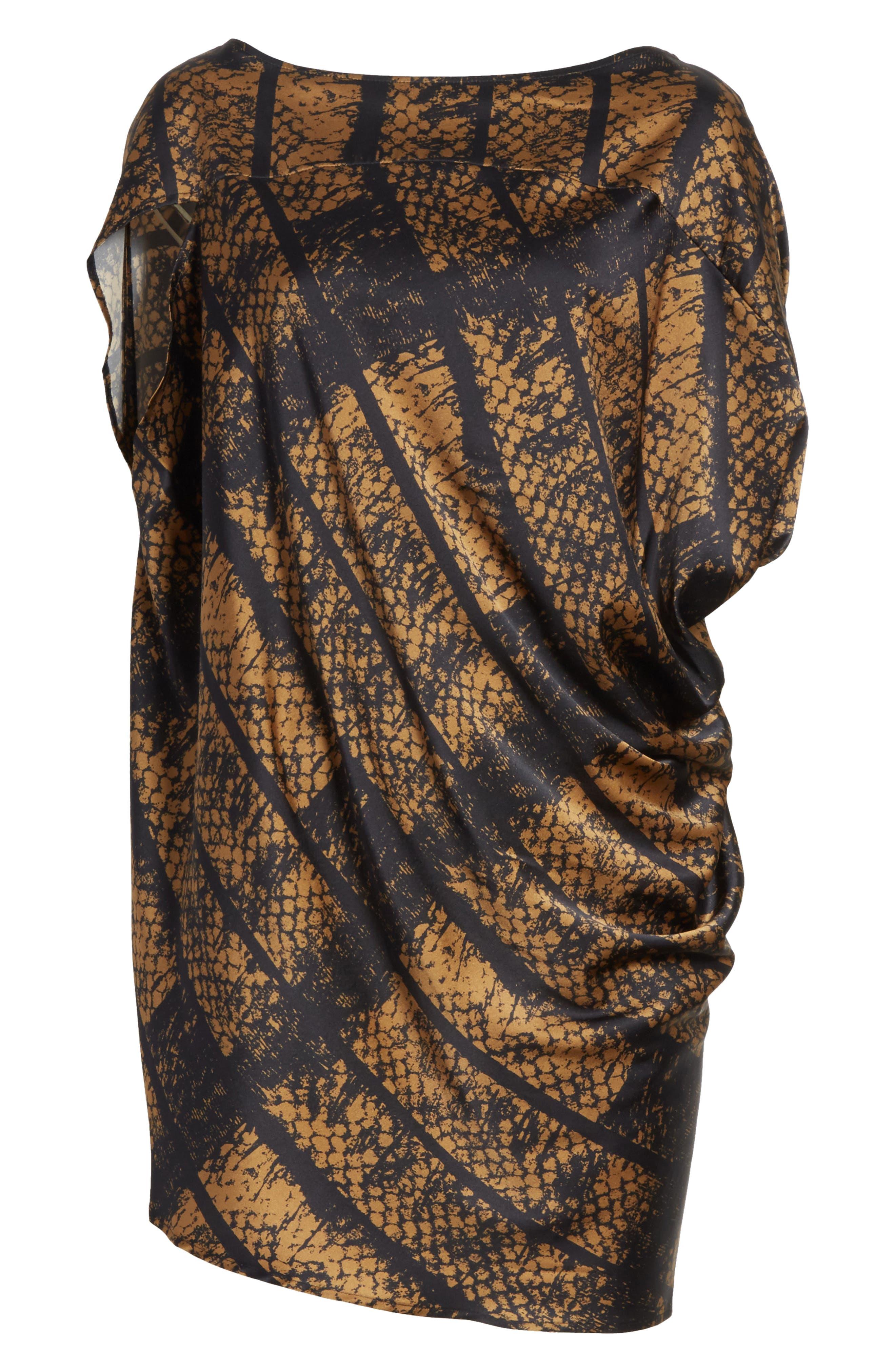Lui Dot Mesh Stretch Silk Charmeuse Tunic,                             Alternate thumbnail 6, color,                             Dot Mesh Bronze