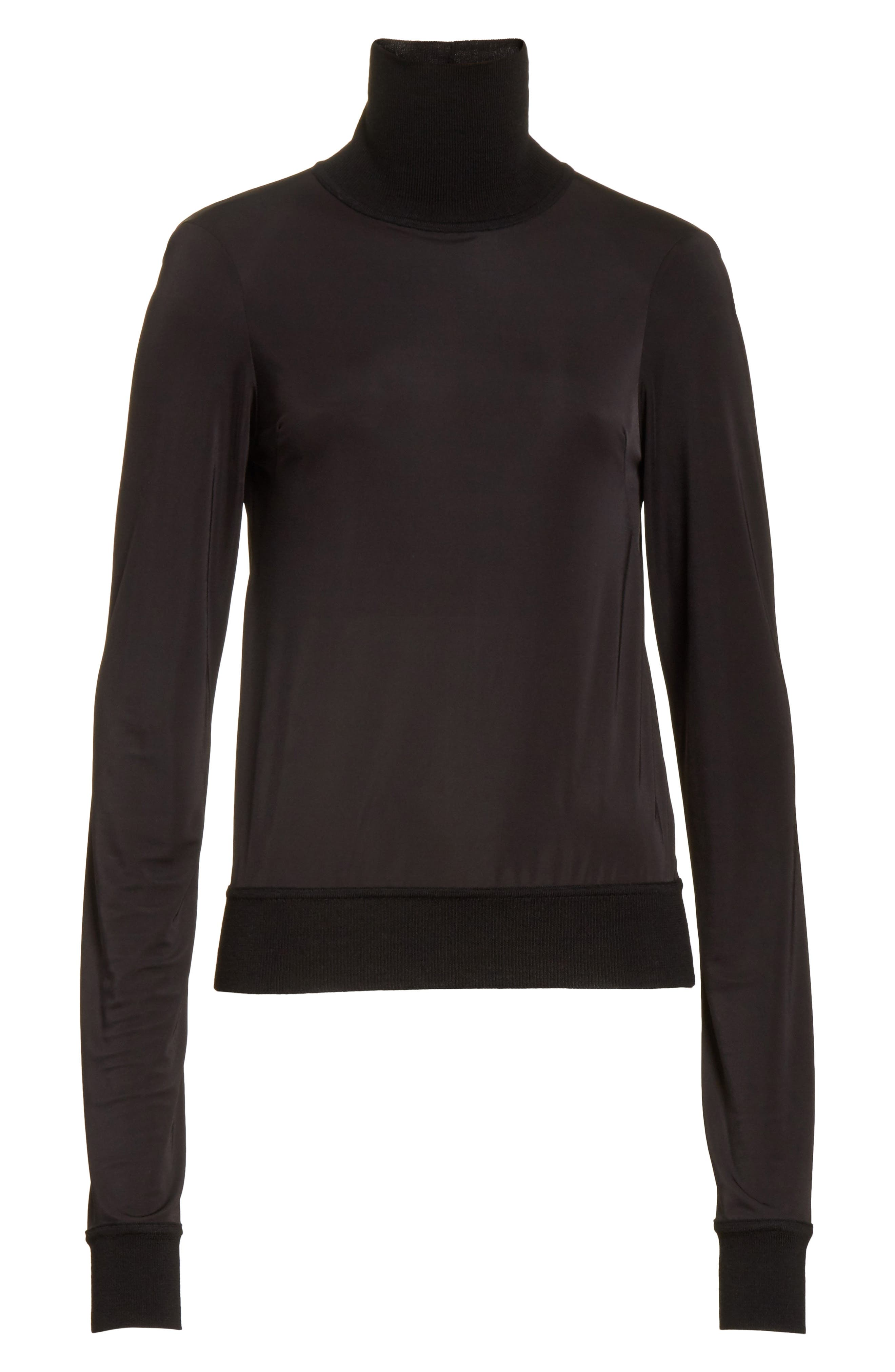 Merino Trim Turtleneck Sweater,                             Alternate thumbnail 6, color,                             Black