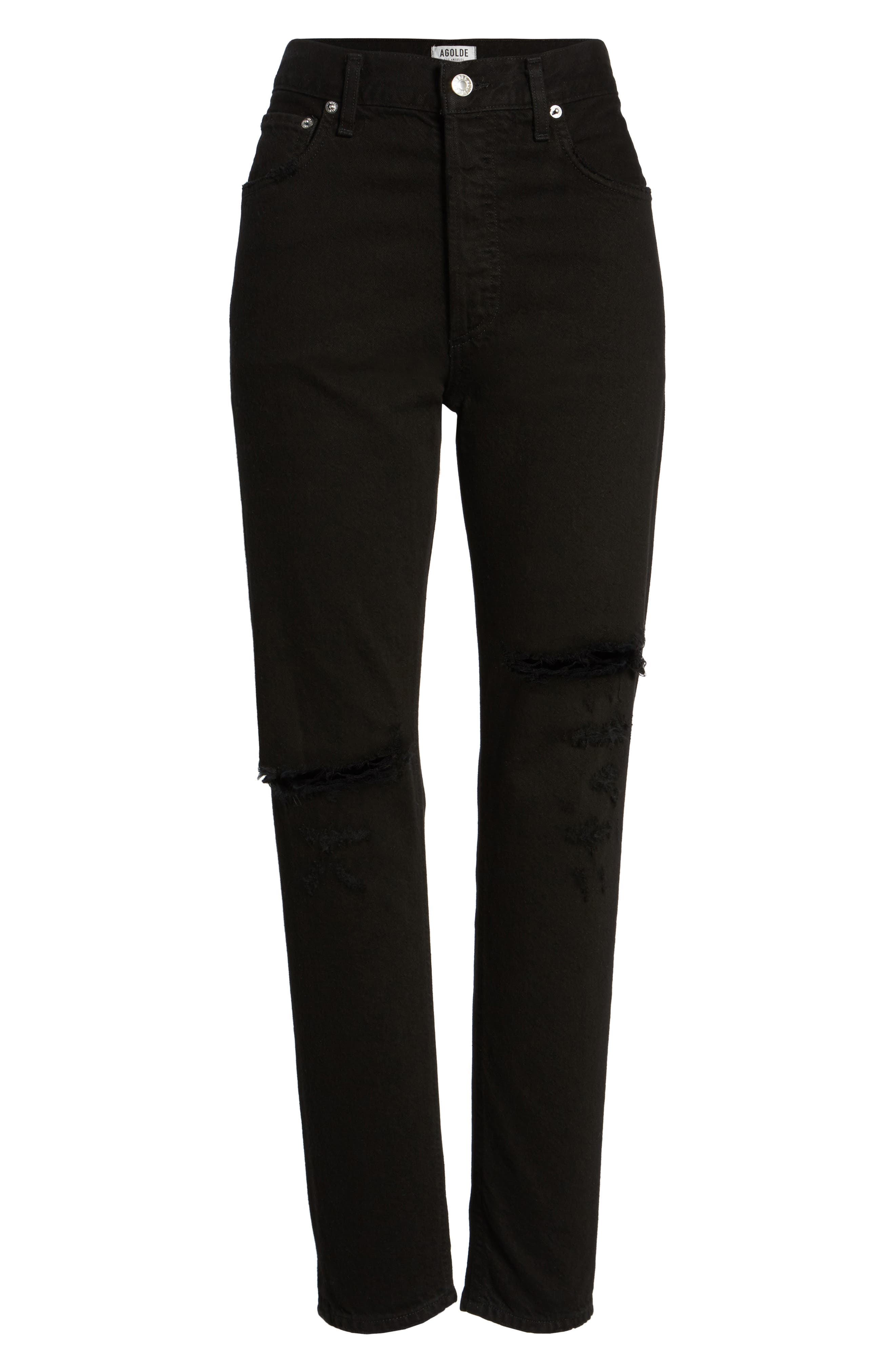 Jamie High Rise Ankle Jeans,                             Alternate thumbnail 6, color,                             Coal
