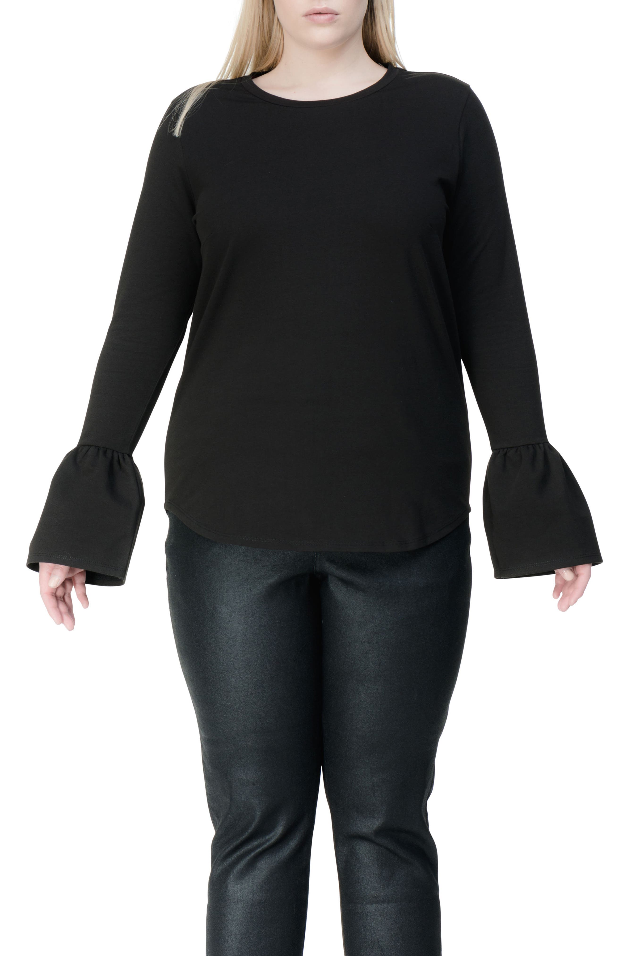 Archer Bell Sleeve Top,                             Main thumbnail 1, color,                             Black