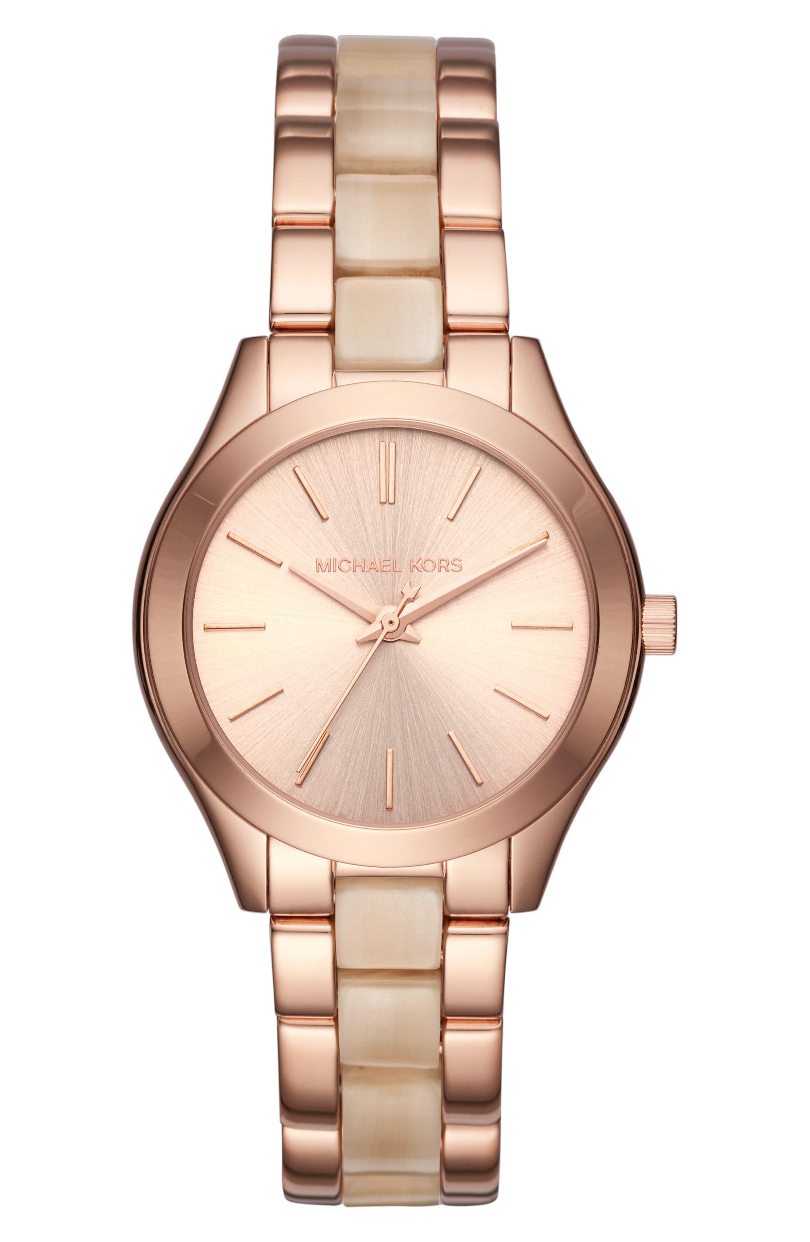 Mini Slim Runway Bracelet Watch, 33mm,                             Main thumbnail 1, color,                             Rose Gold