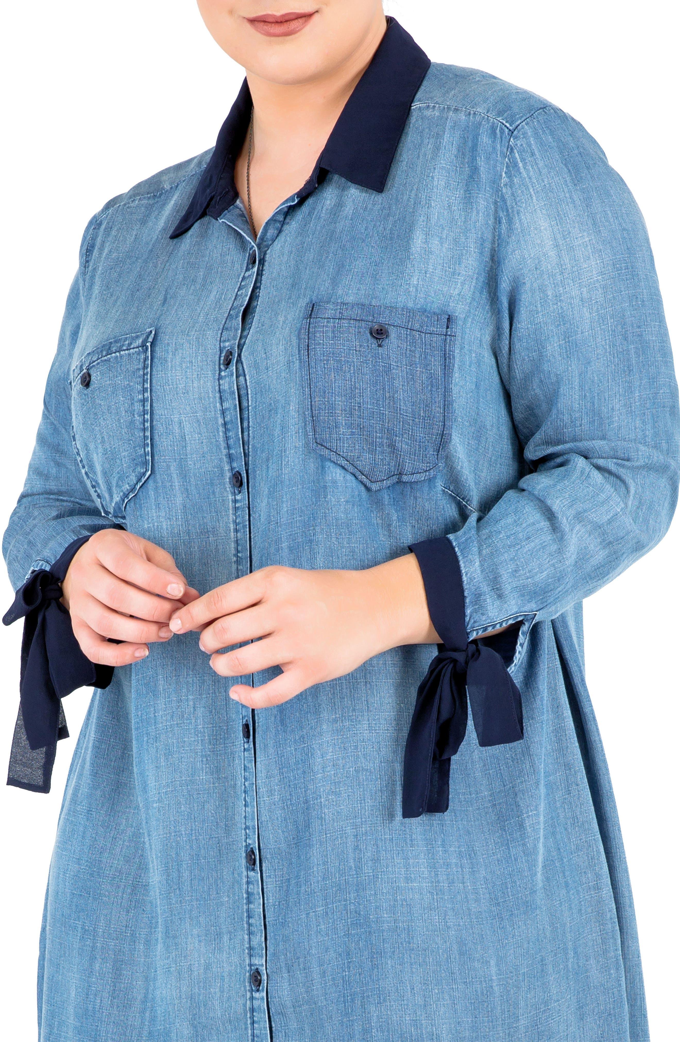 Alternate Image 5  - Standards & Practices High/Low Denim Shirtdress (Plus Size)