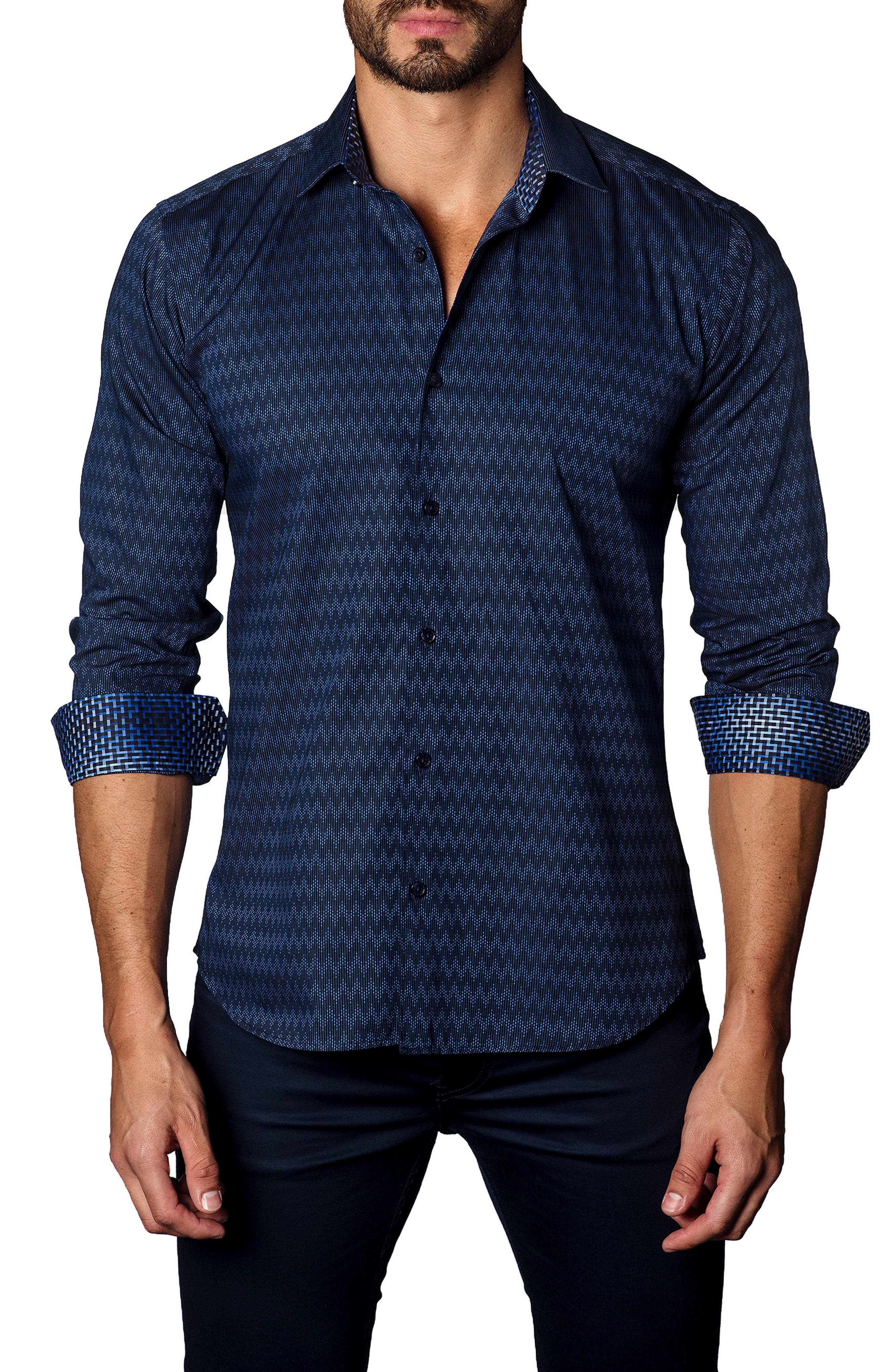 Trim Fit Zigzag Sport Shirt,                         Main,                         color, Navy Print
