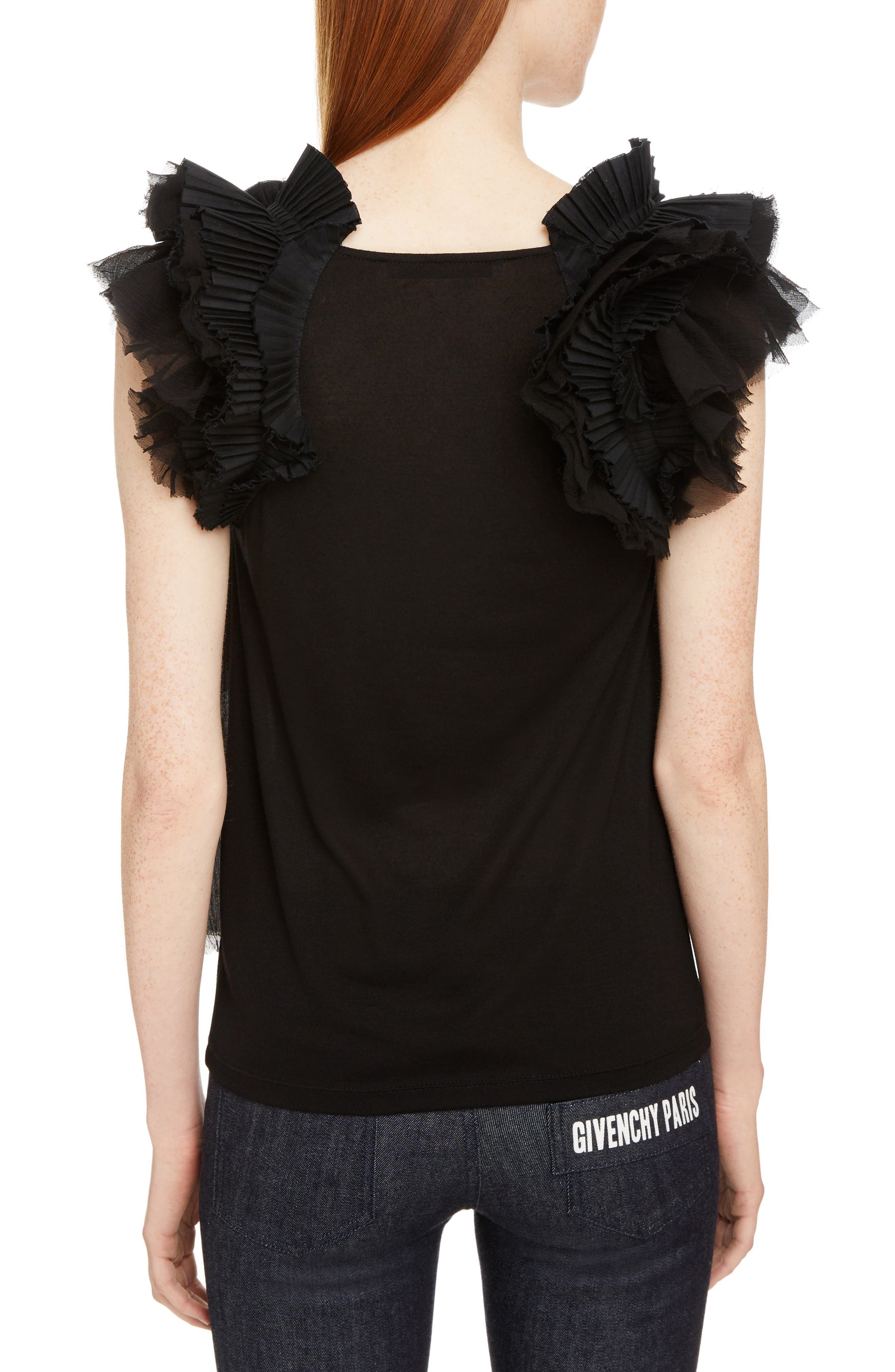 Ruffle Sleeve Jersey Top,                             Alternate thumbnail 2, color,                             Black