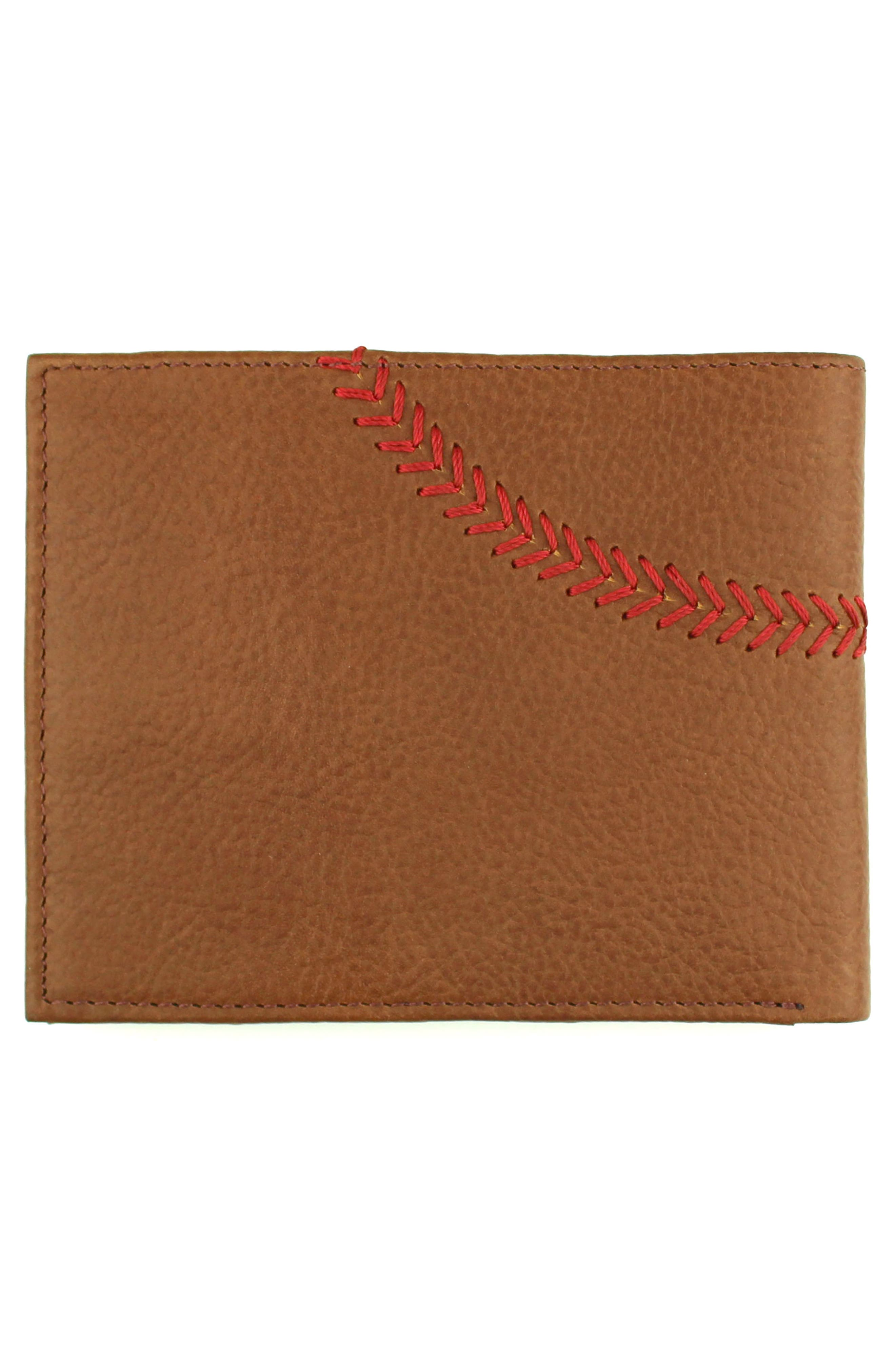 Home Run Bifold Leather Wallet,                             Alternate thumbnail 3, color,                             Cognac