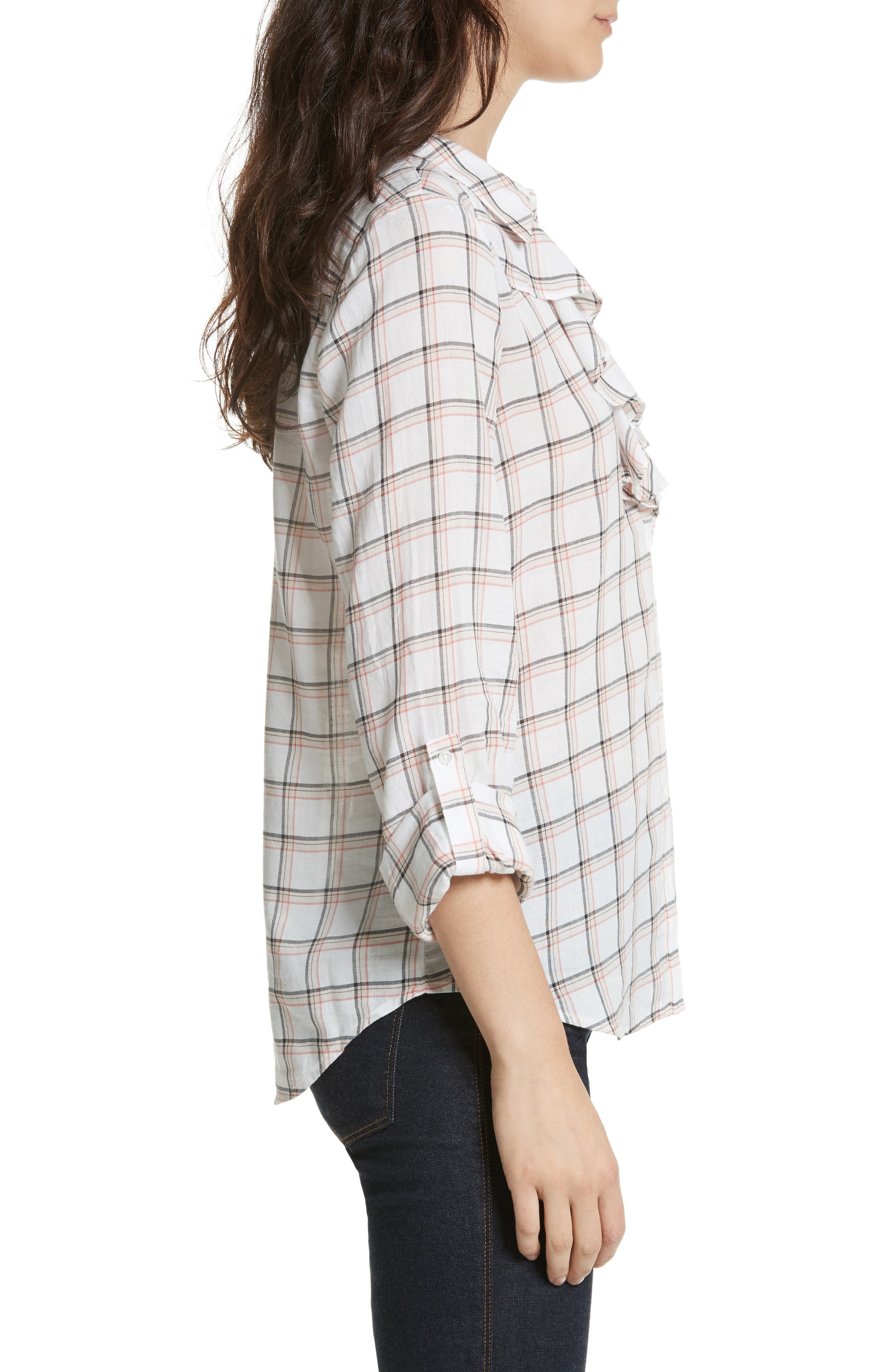 Fara Plaid Top,                             Alternate thumbnail 3, color,                             Porcelain