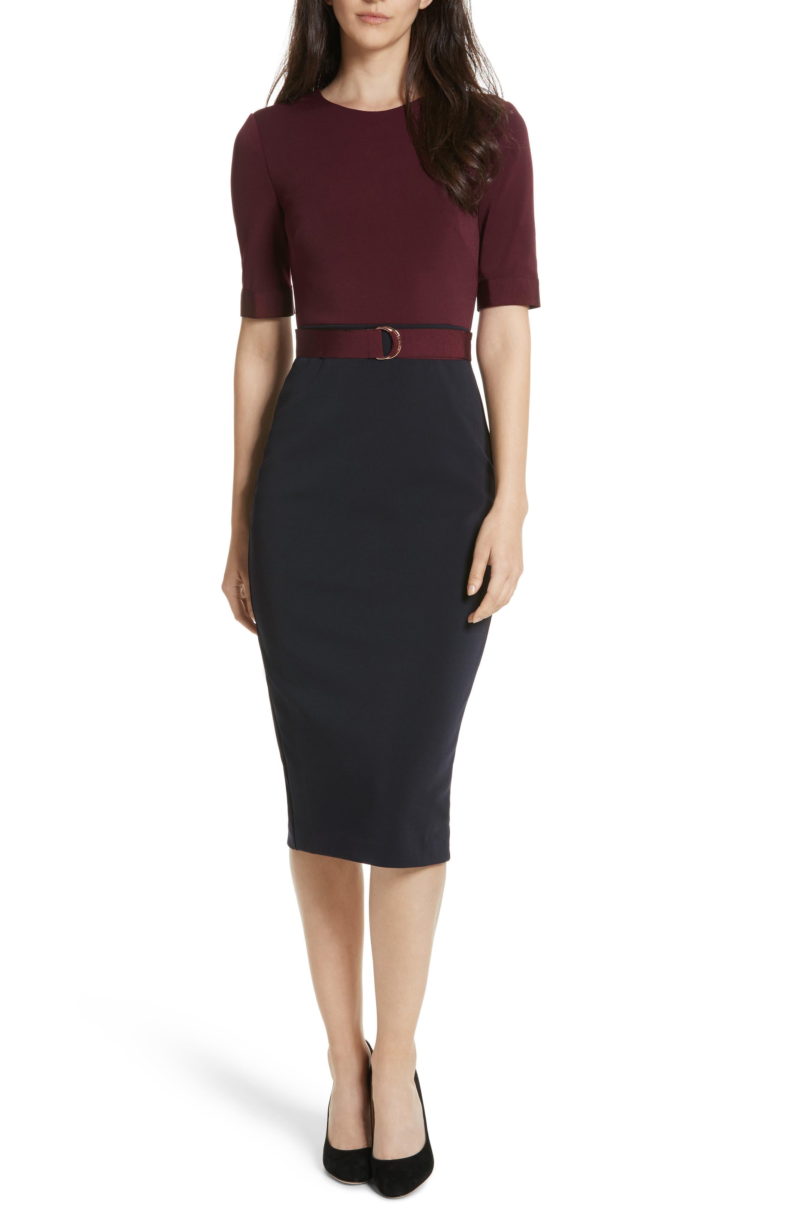 Wandee Ponte Body-Con Dress,                         Main,                         color, Navy