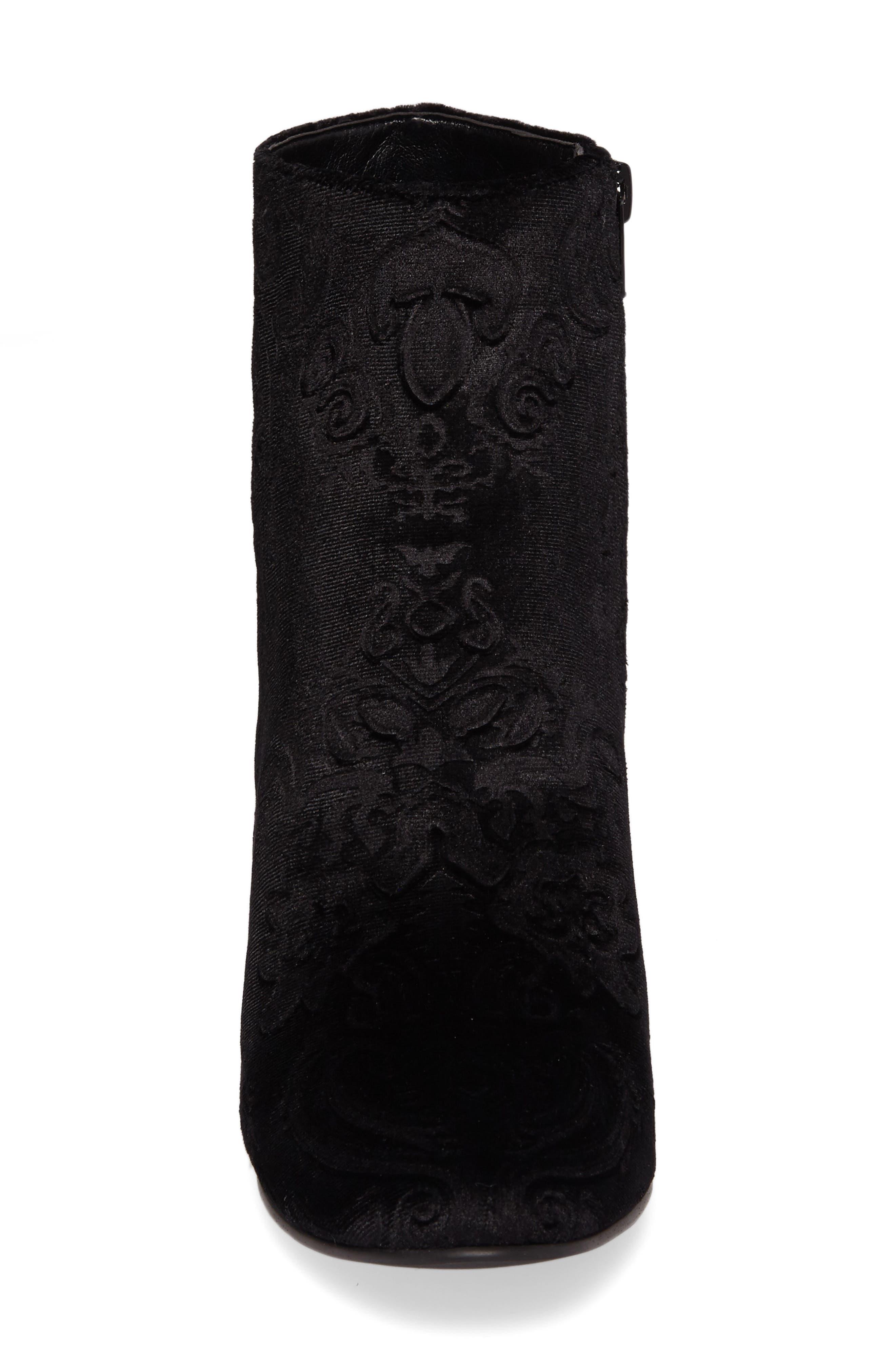 Marian Block Heel Bootie,                             Alternate thumbnail 4, color,                             Black Embossed Velvet