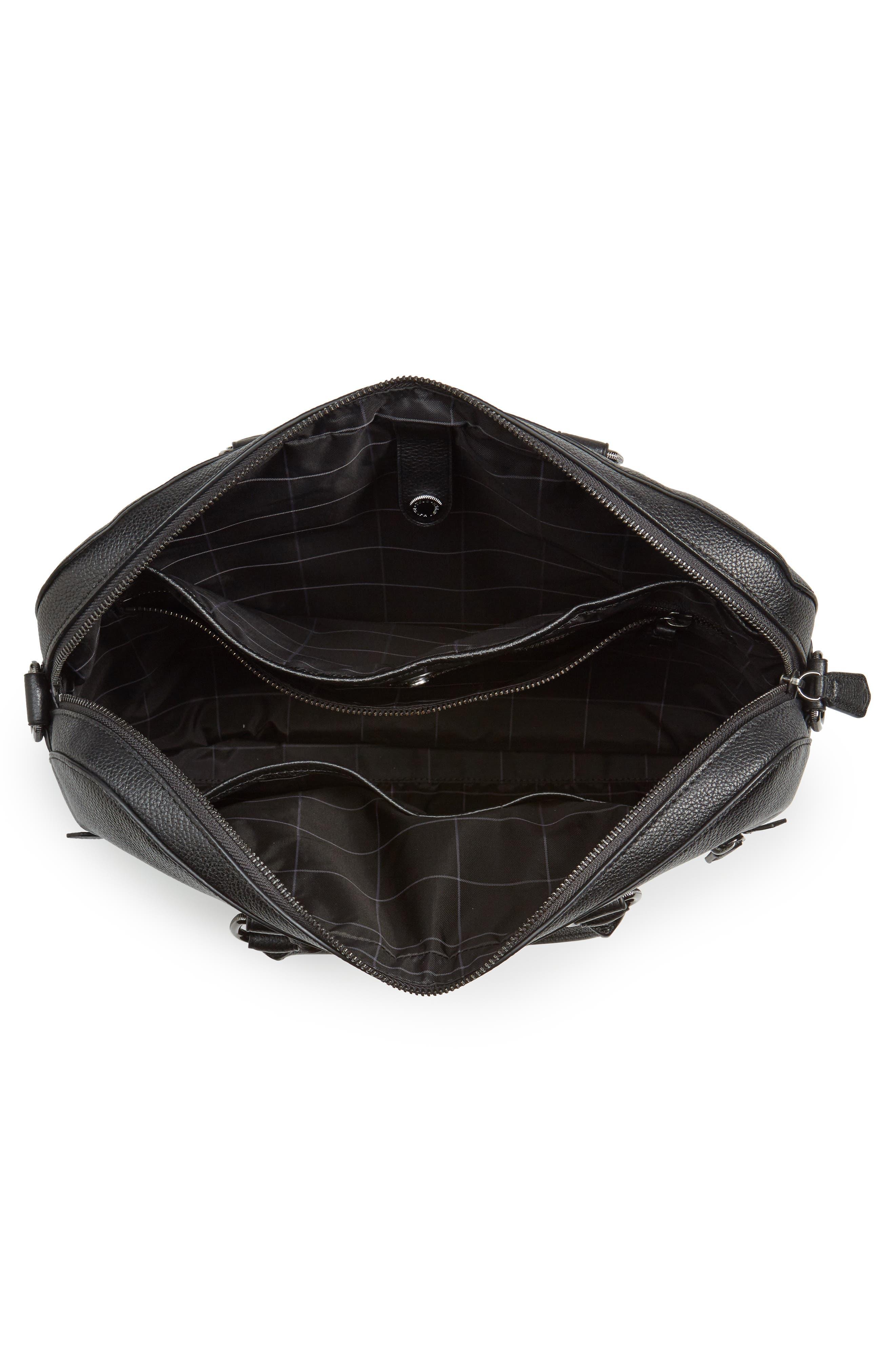 Commuter Leather Briefcase,                             Alternate thumbnail 4, color,                             Black