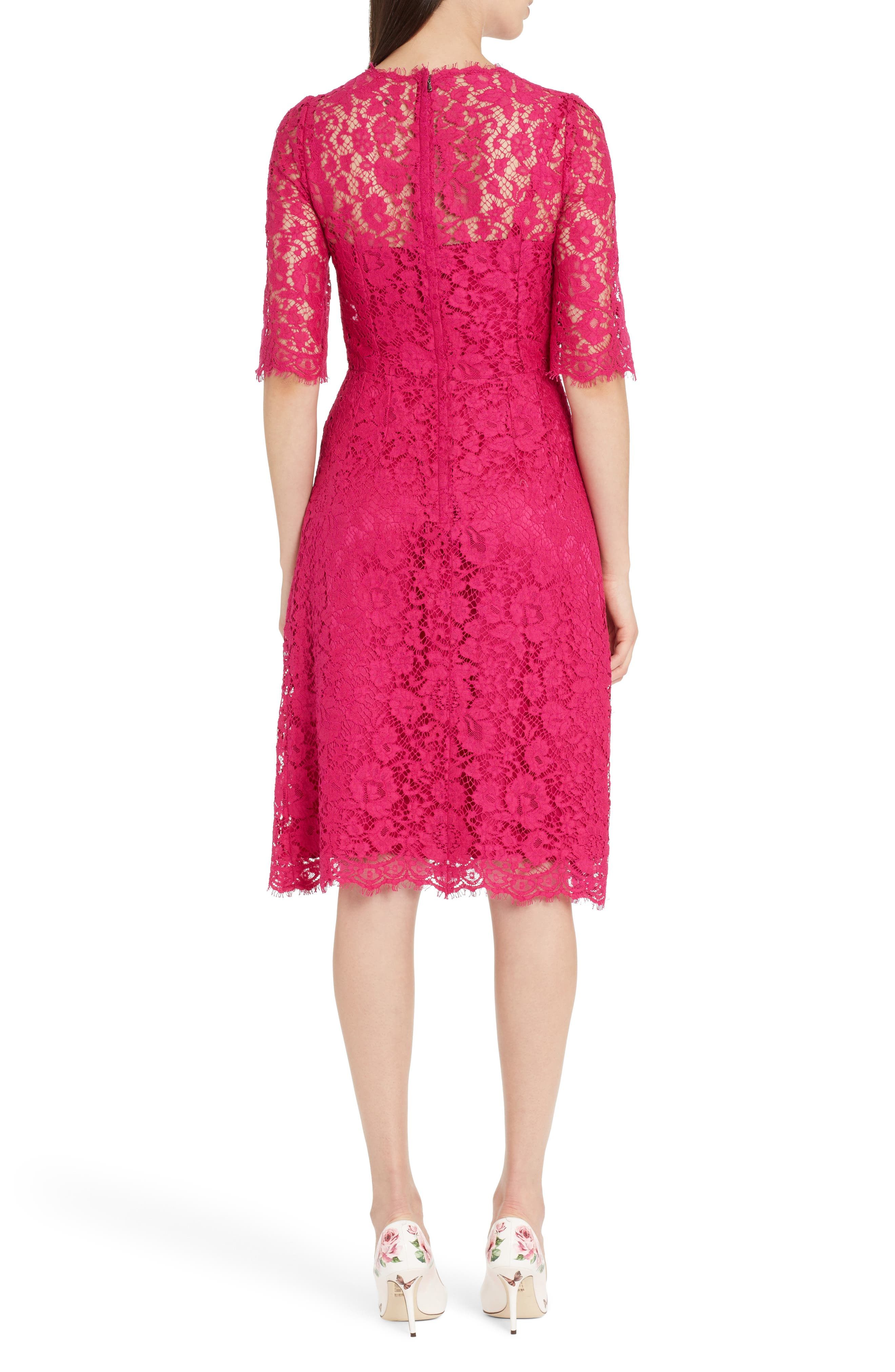 Lace A-Line Dress,                             Alternate thumbnail 2, color,                             Bright Pink