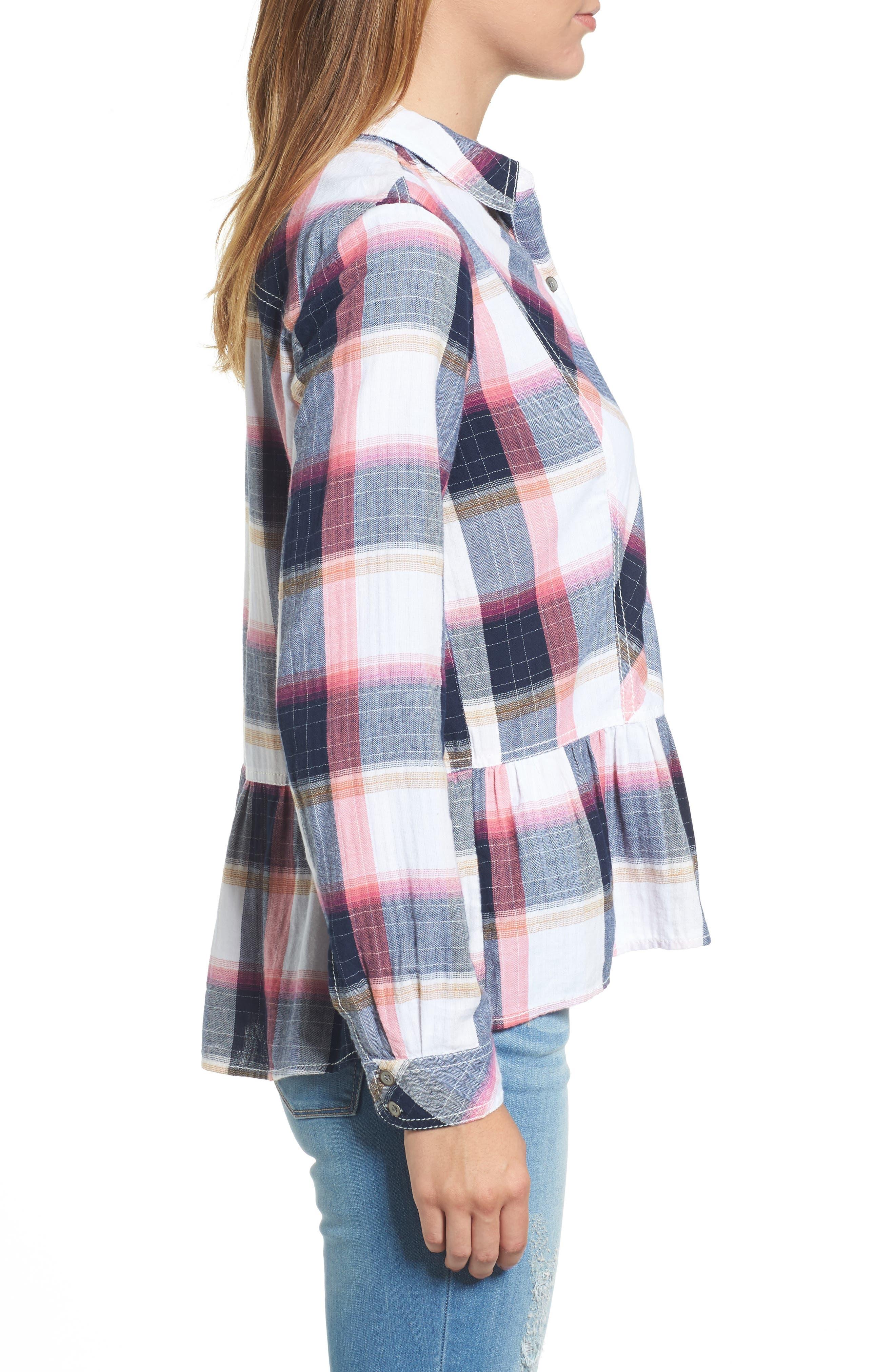 Peplum Plaid Shirt,                             Alternate thumbnail 3, color,                             Navy- Rose Plaid