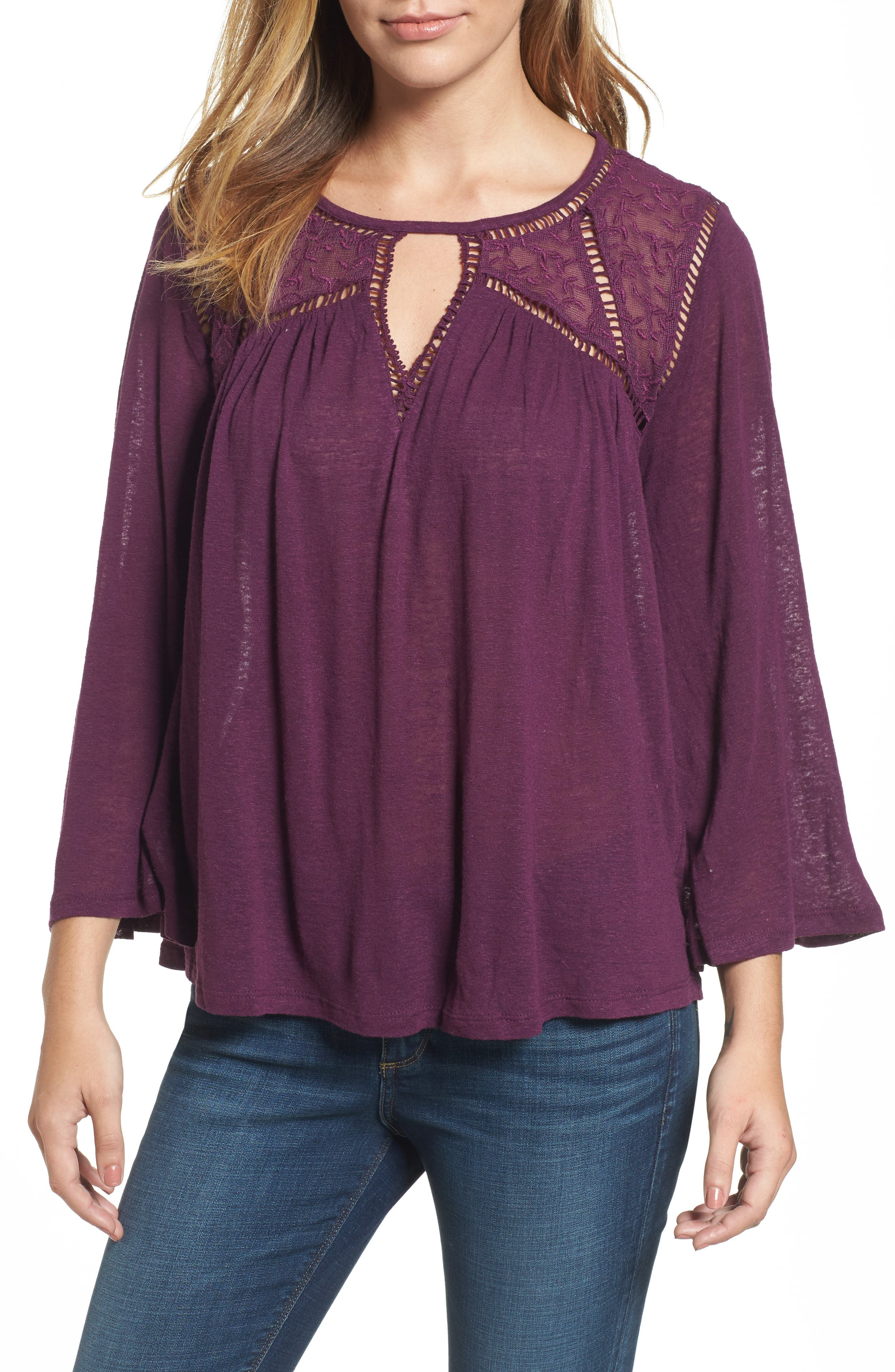 Lucky Brand Mesh Lace Peasant Top