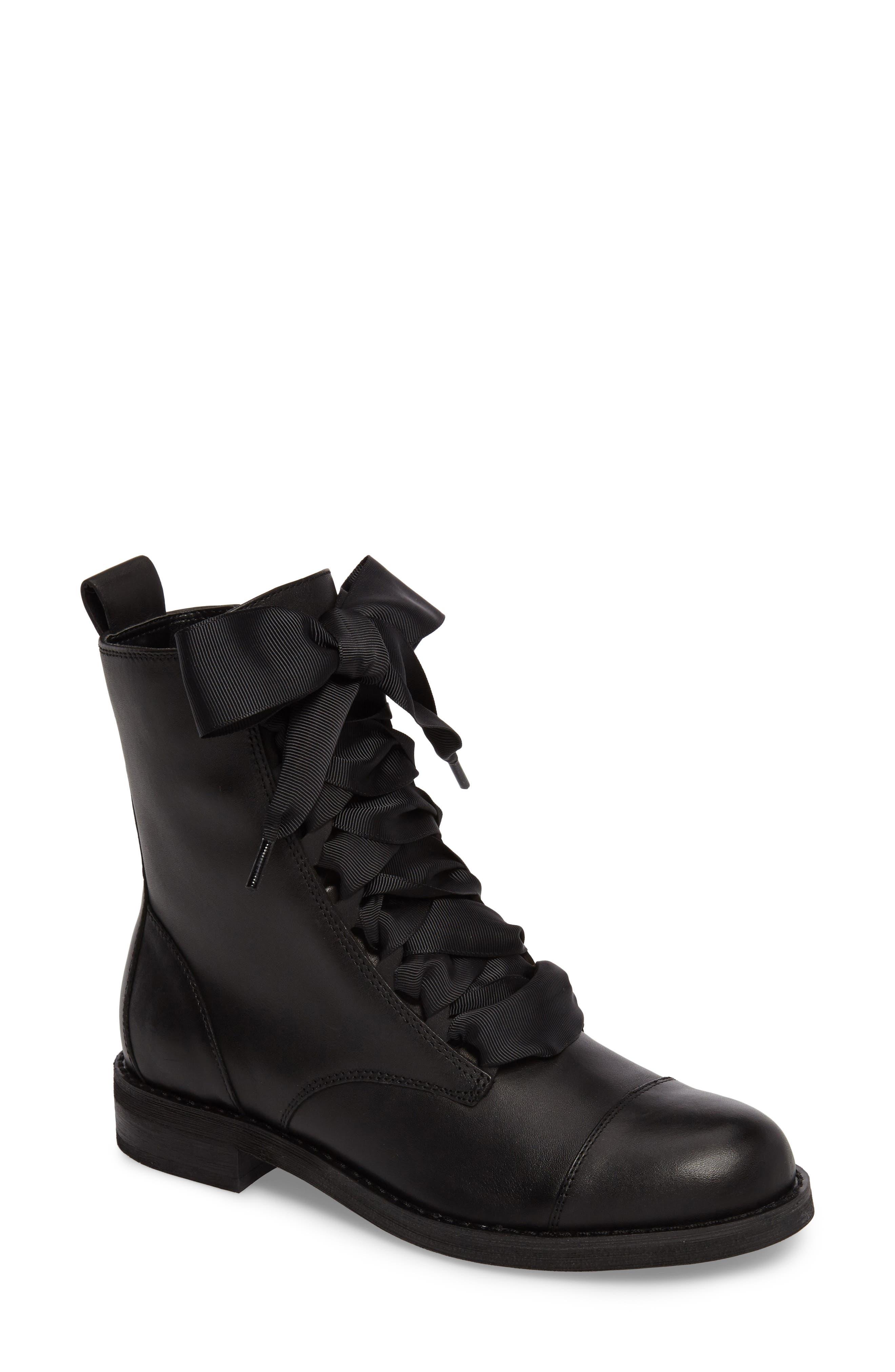 Lex Lace-Up Combat Boot,                             Main thumbnail 1, color,                             Black Leather