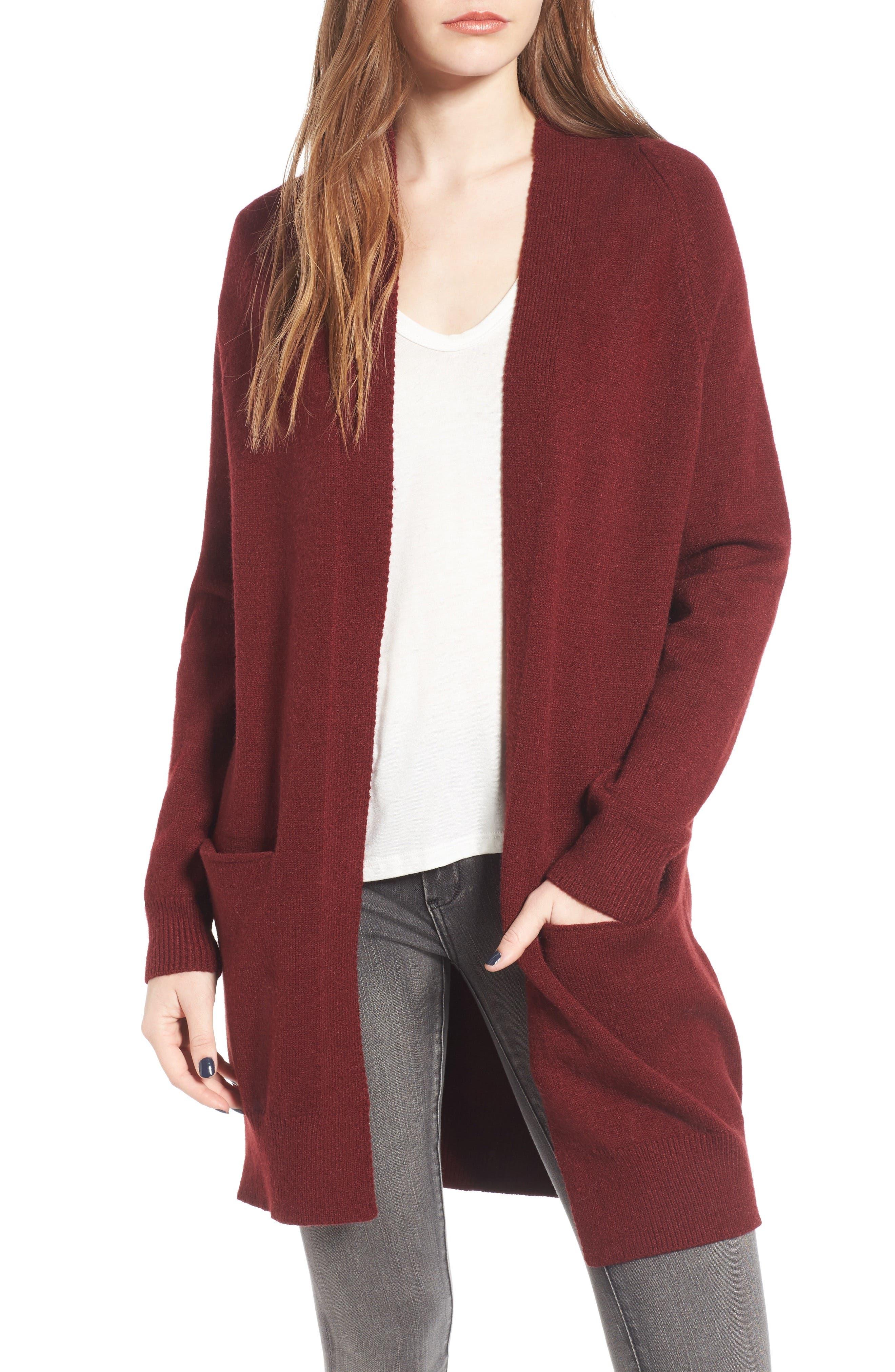 Cozy Open Cardigan,                         Main,                         color, Burgundy