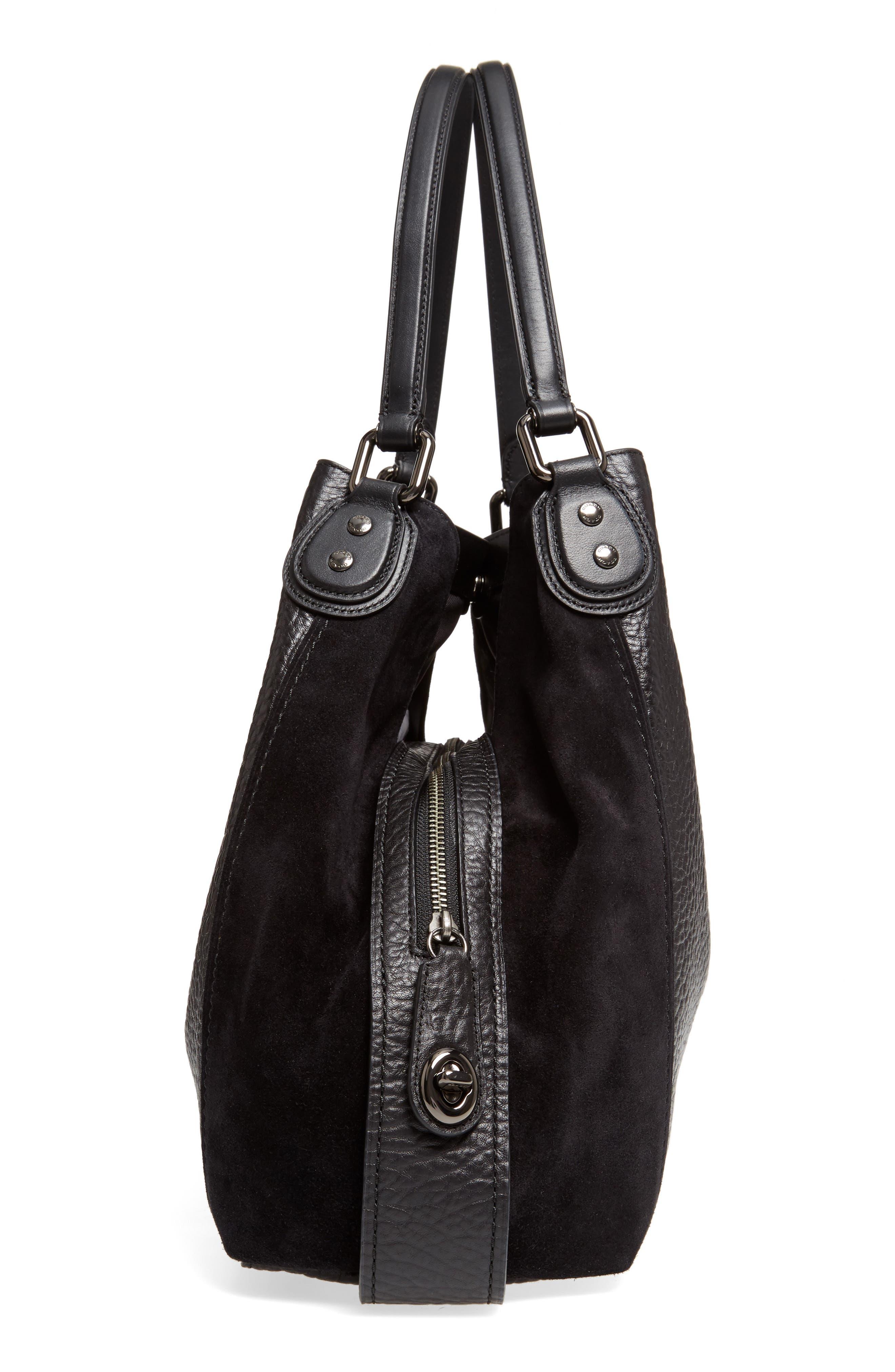 Edie 42 Leather & Suede Shoulder Bag,                             Alternate thumbnail 5, color,                             Black
