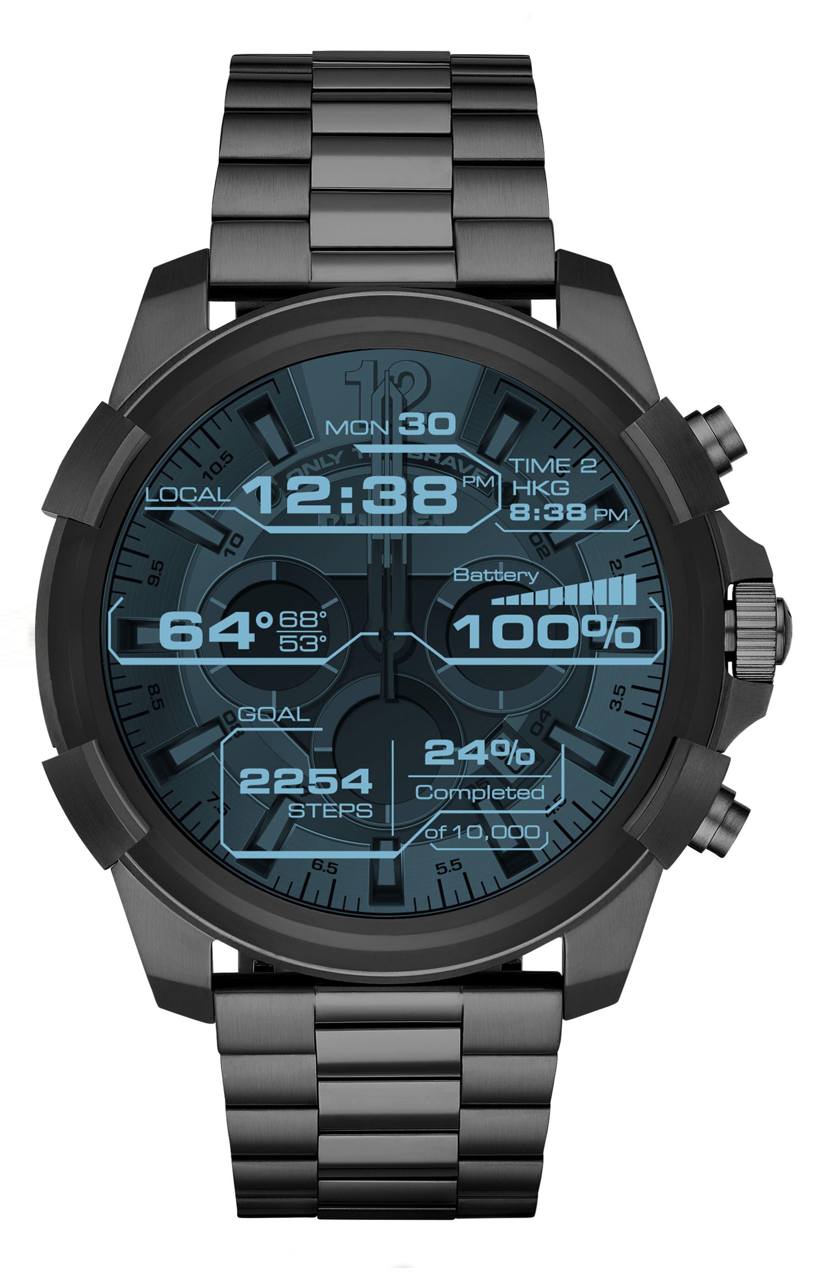Full Guard Touchscreen Bracelet Smartwatch, 48mm x 54mm,                         Main,                         color, Ip Gunmetal/ Black