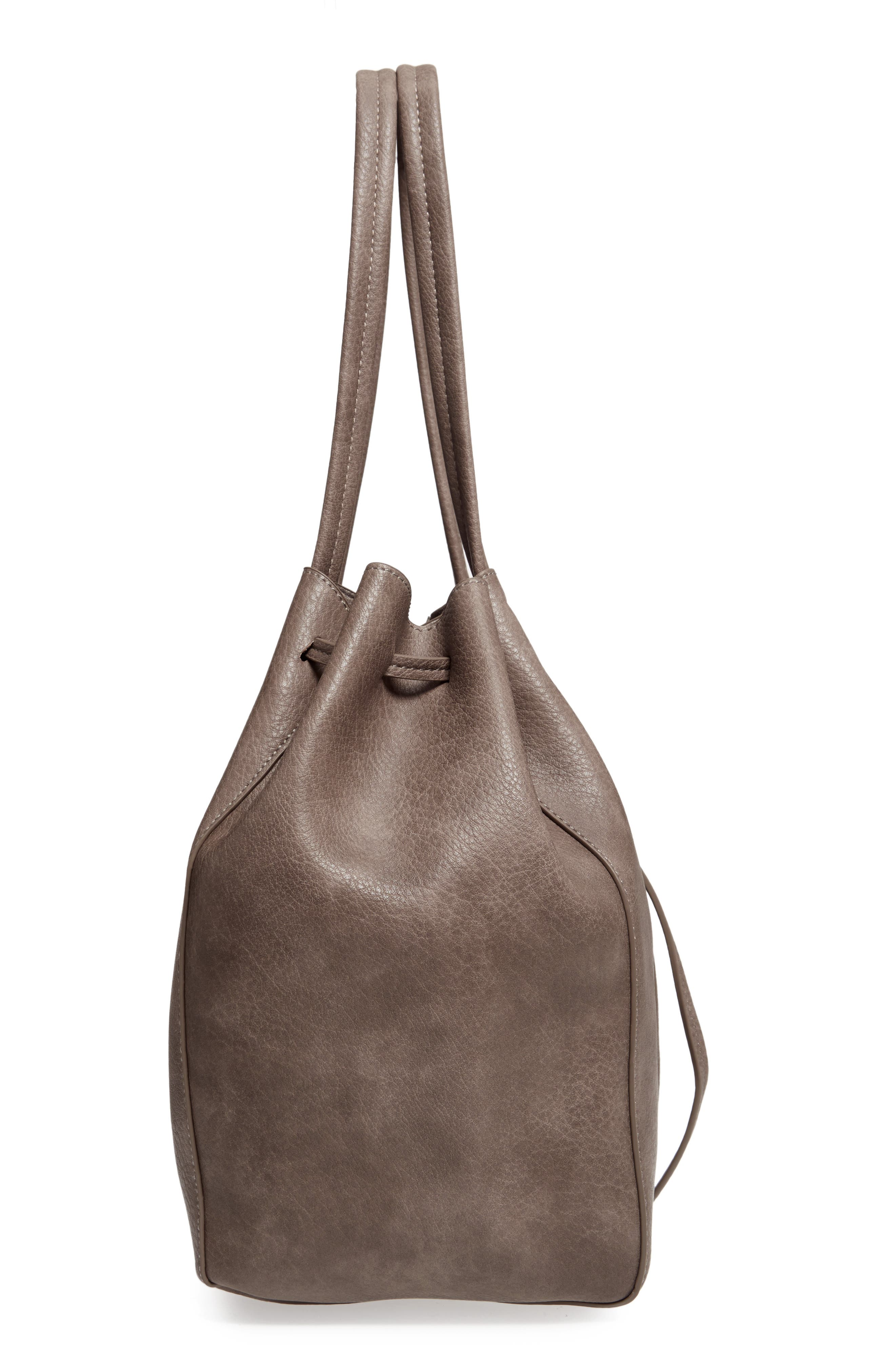 Faux Leather Drawstring Tote,                             Alternate thumbnail 4, color,                             Light Grey