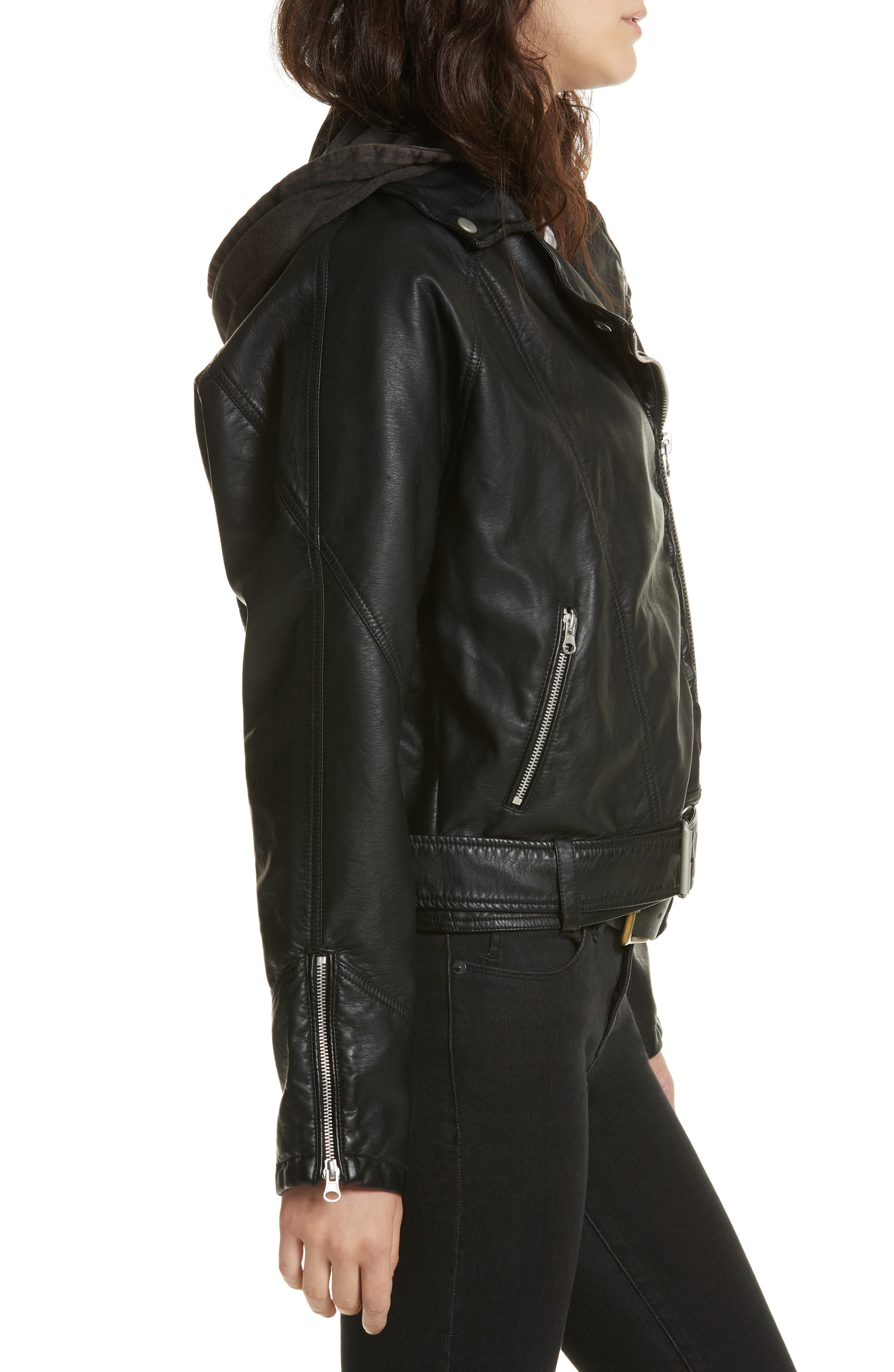 Drapey Faux Leather Moto Jacket,                             Alternate thumbnail 3, color,                             Black