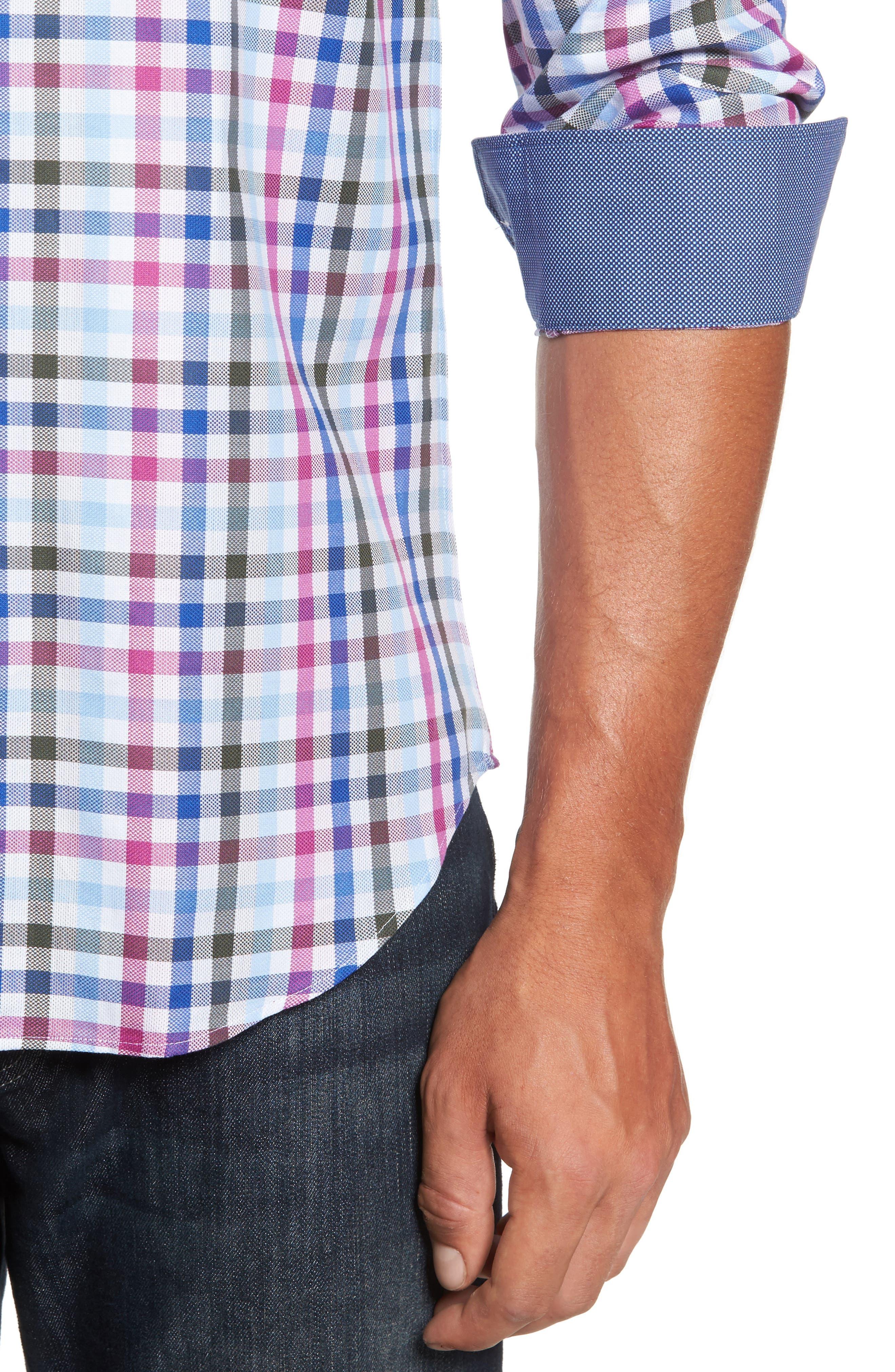 Alternate Image 4  - Bugatchi Shaped Fit Plaid Sport Shirt