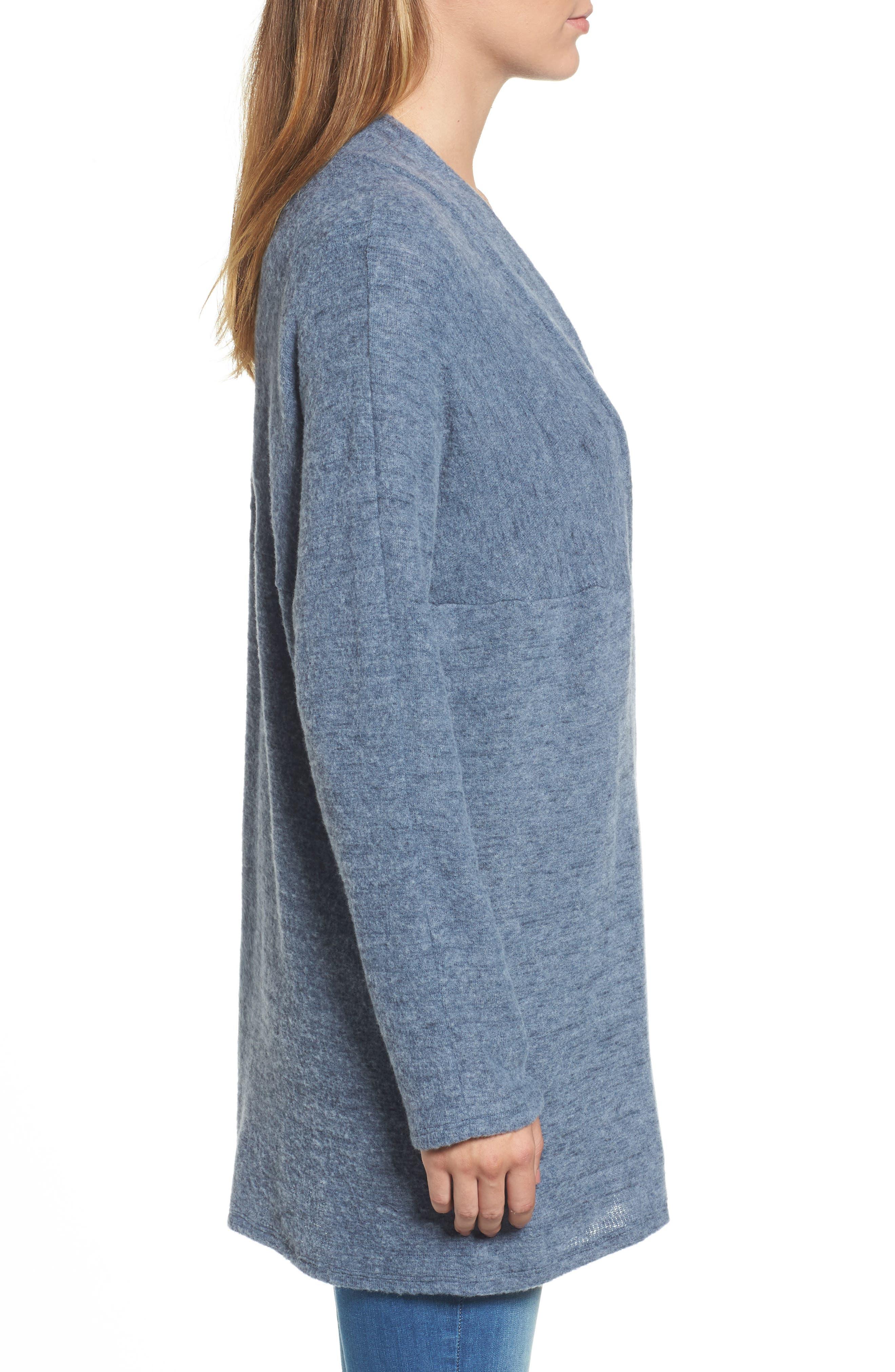 Caslon Open Knit Cardigan,                             Alternate thumbnail 3, color,                             Navy