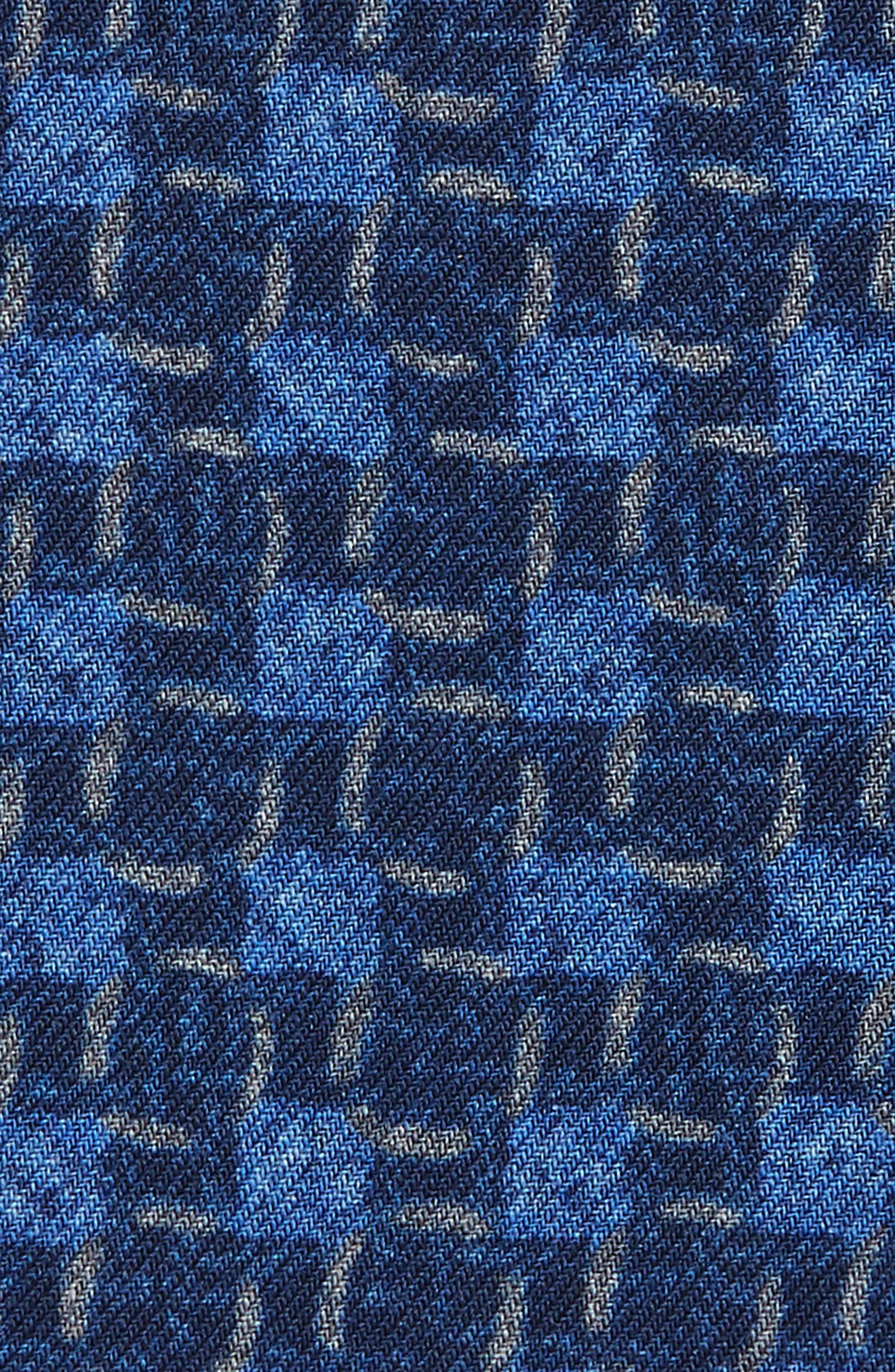 Grid Wool Pocket Square,                             Alternate thumbnail 3, color,                             Navy