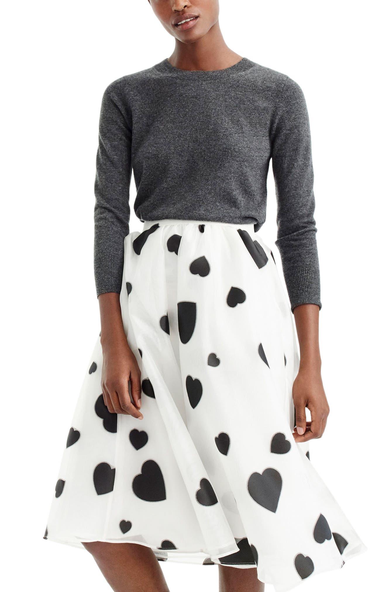 J.Crew Heart Print Organza Skirt