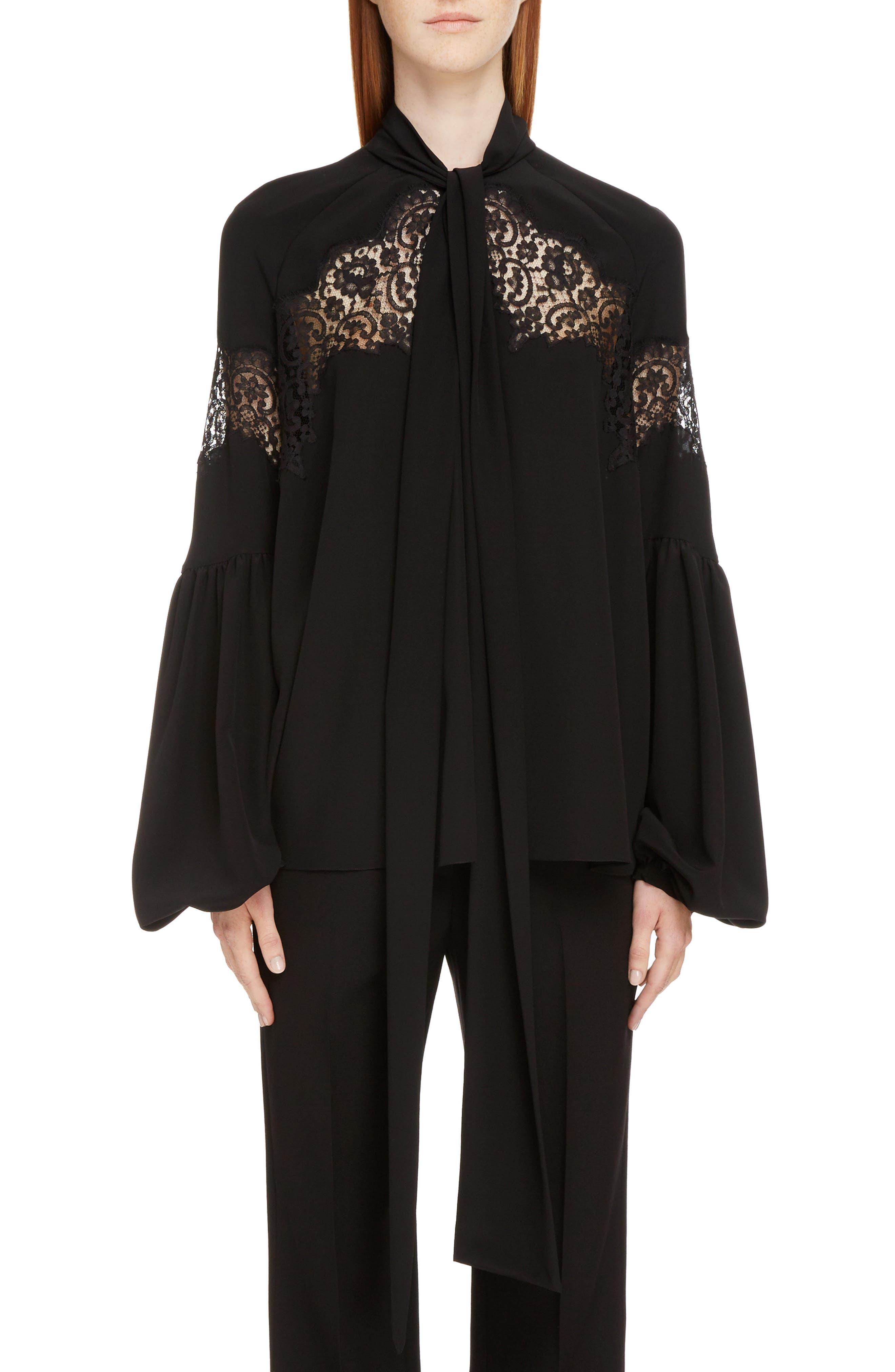 Lace Inset Silk Georgette Blouse,                         Main,                         color, Black