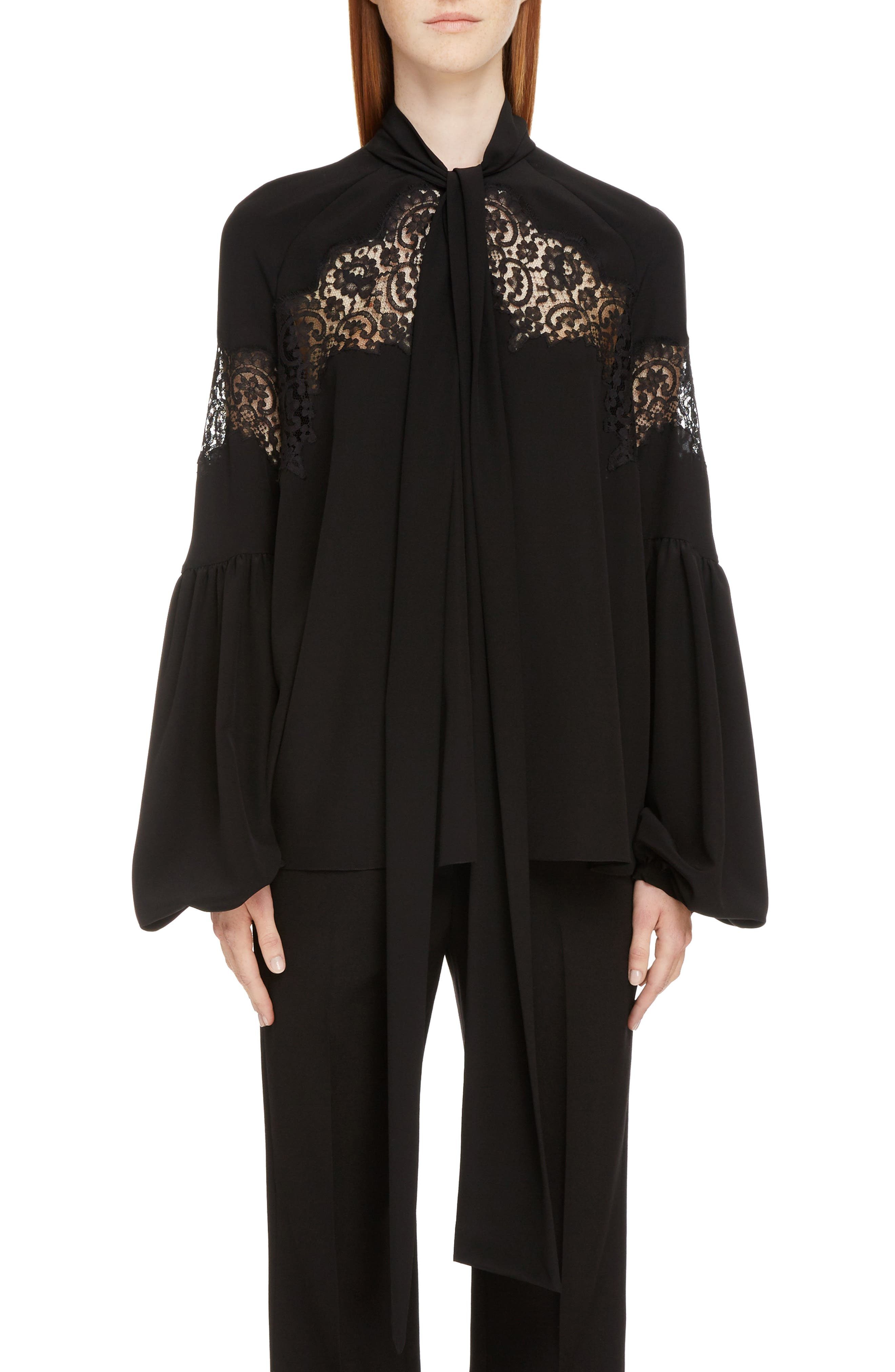 Givenchy Lace Inset Silk Georgette Blouse