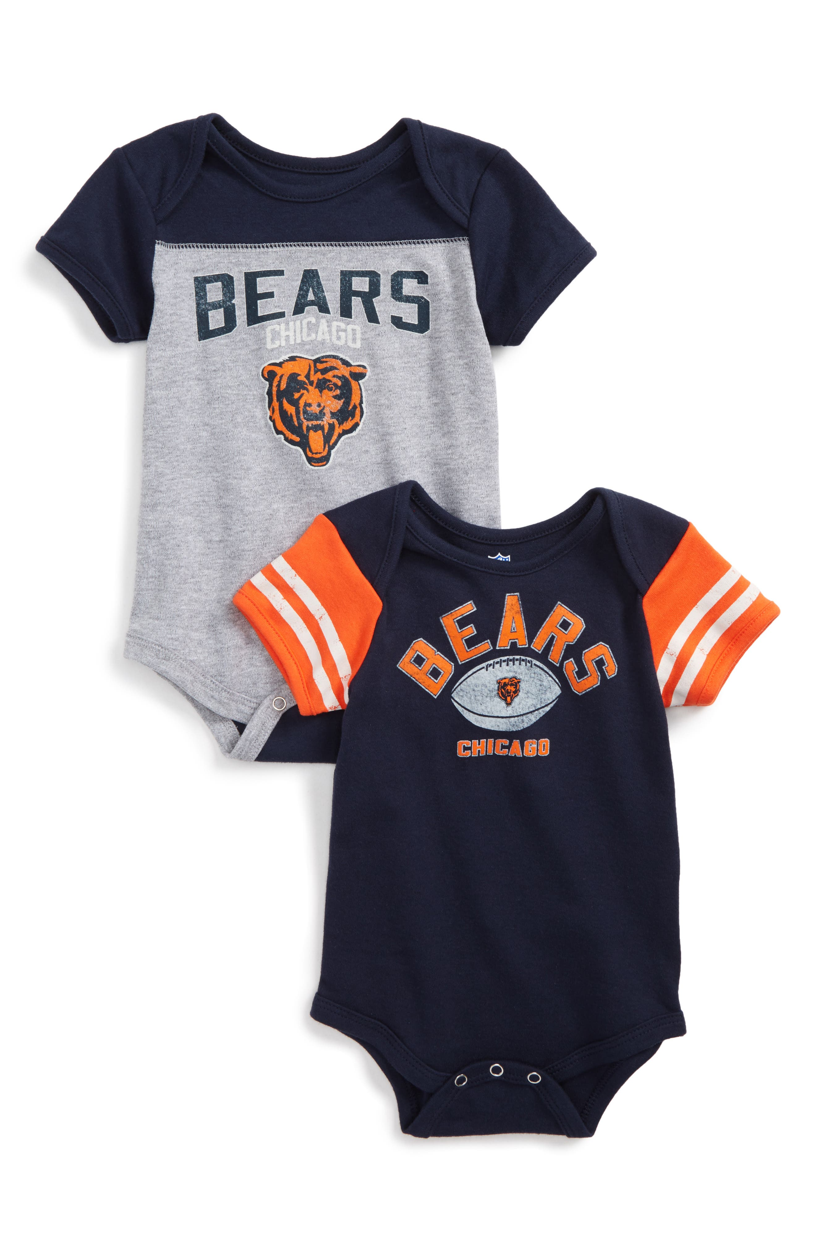 Main Image - NFL Logo Chicago Bears 2-Pack Bodysuits (Baby)