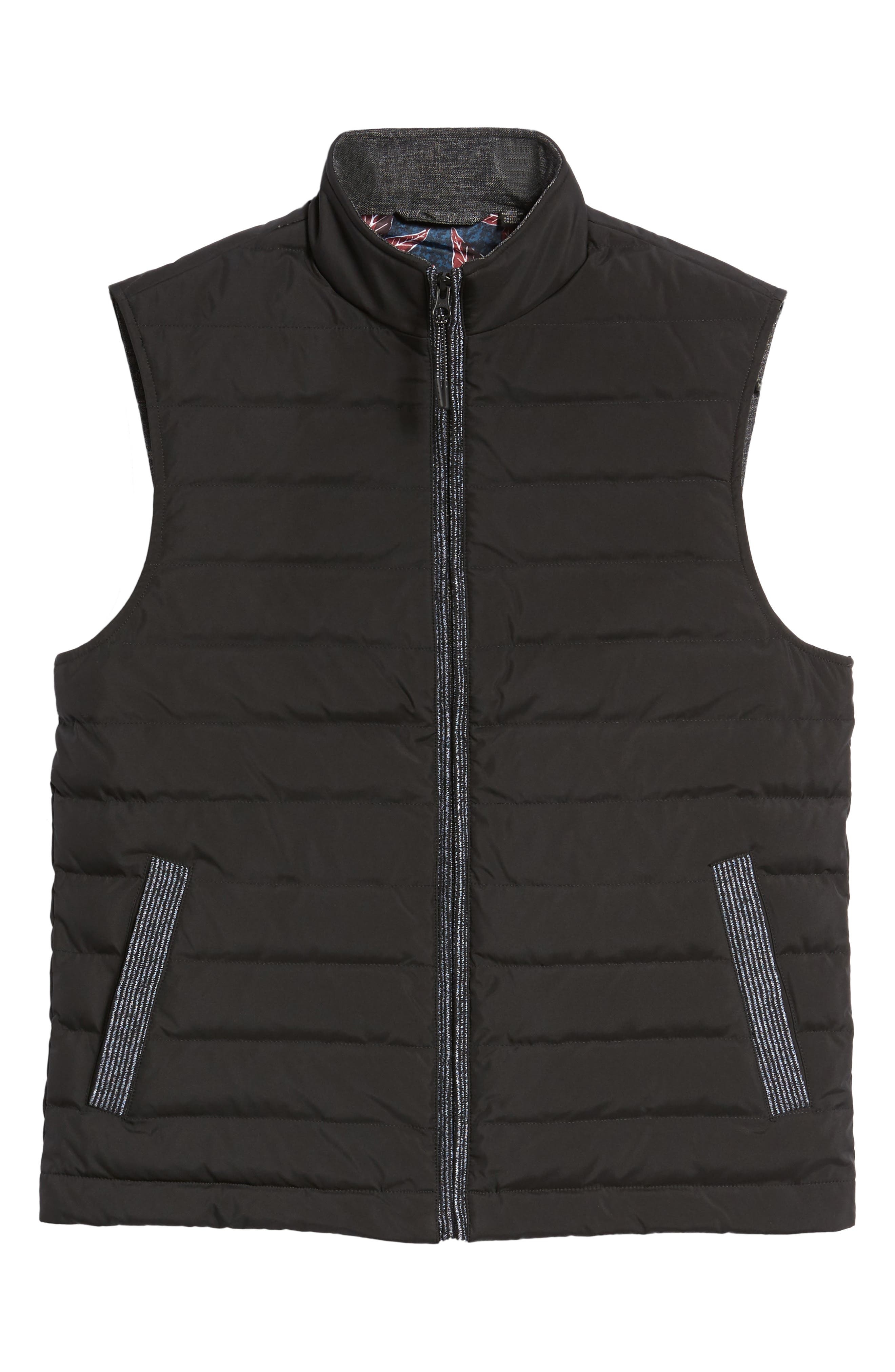 Jozeph Quilted Down Vest,                             Alternate thumbnail 6, color,                             Black