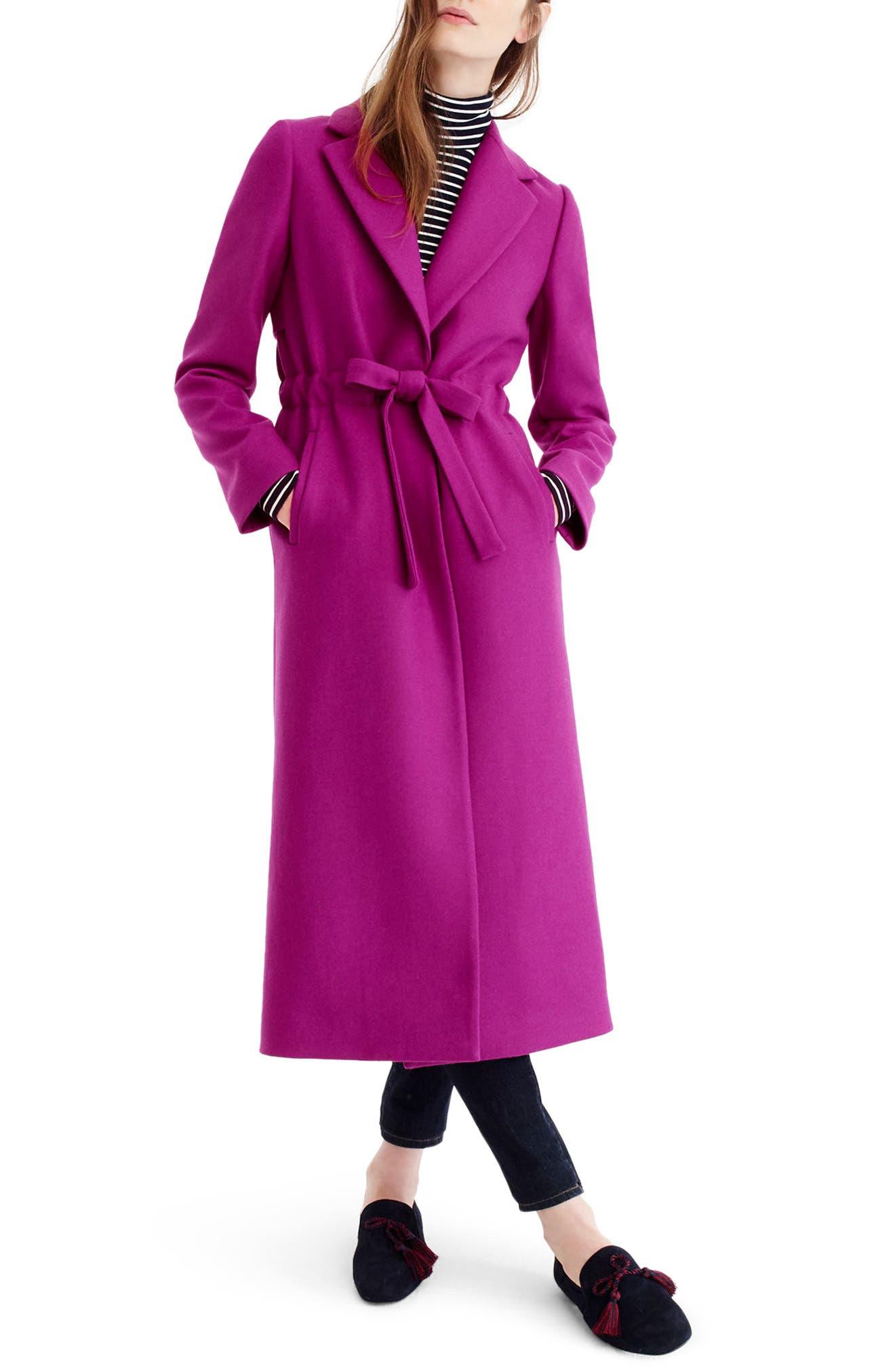 Tie-Waist Double Serge Wool Topcoat,                         Main,                         color, Bright Plum