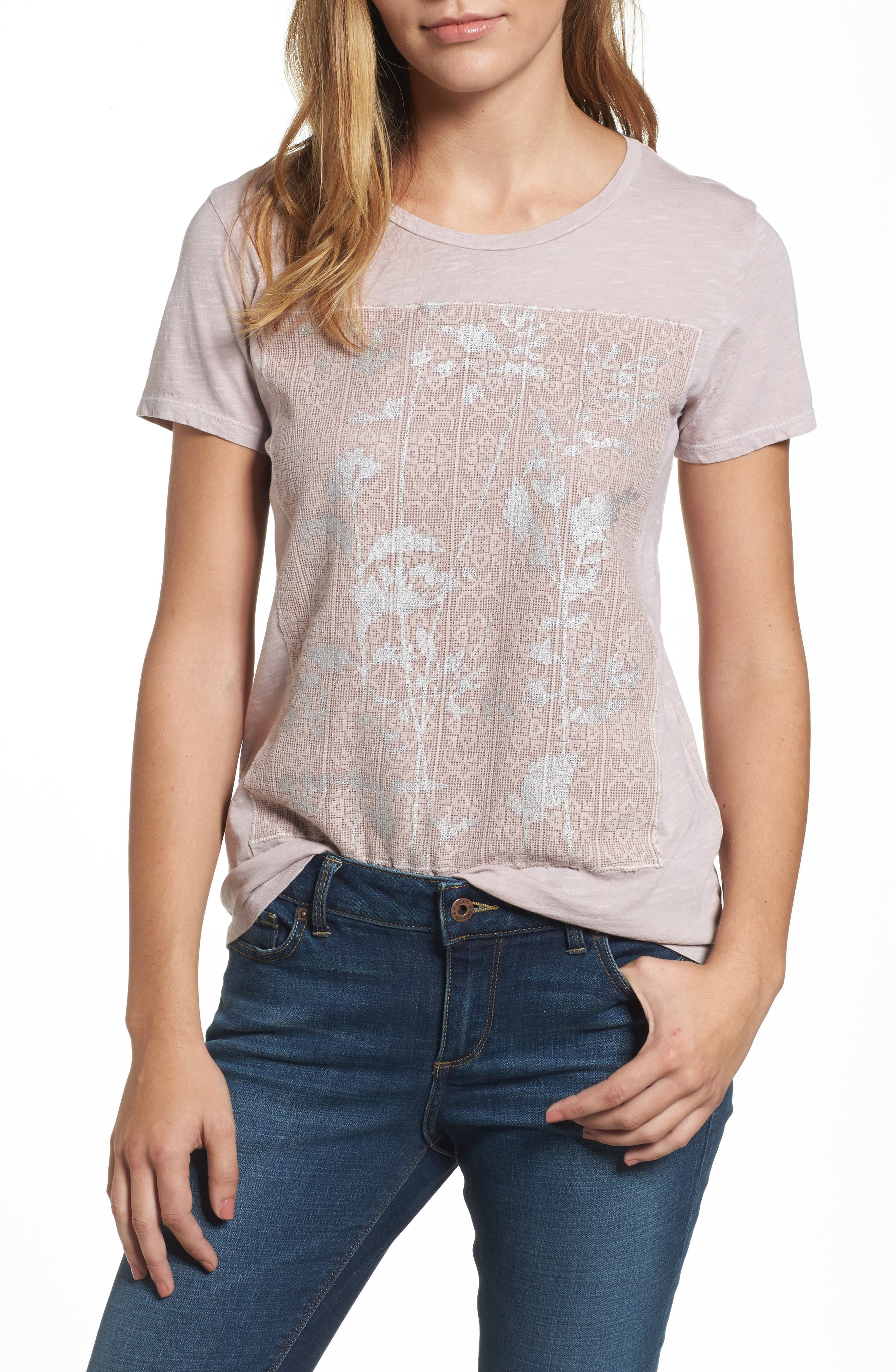 Lucky Brand Print Lace Panel Tee