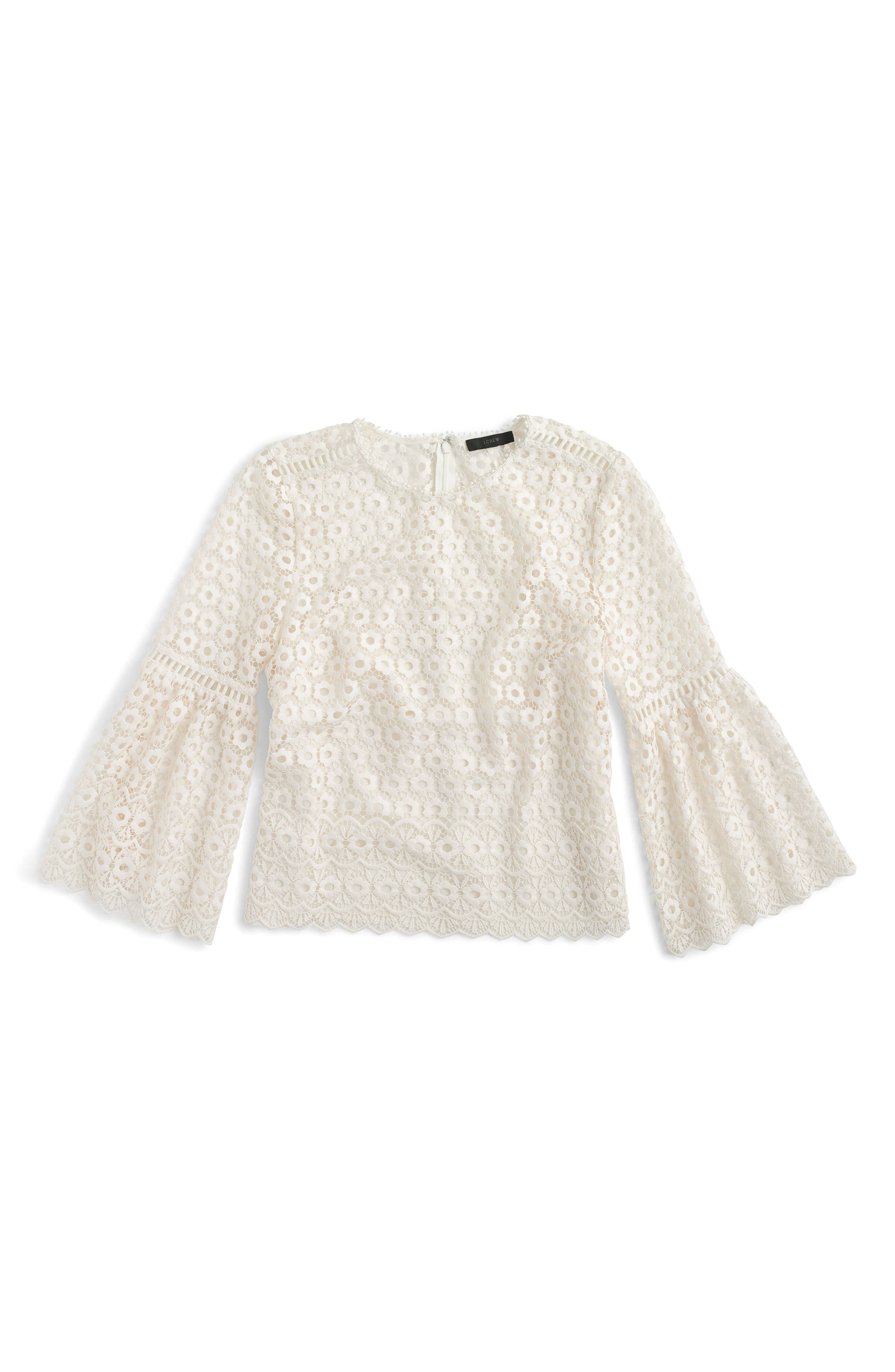 Bell Sleeve Daisy Lace Top,                             Main thumbnail 1, color,                             Ivory