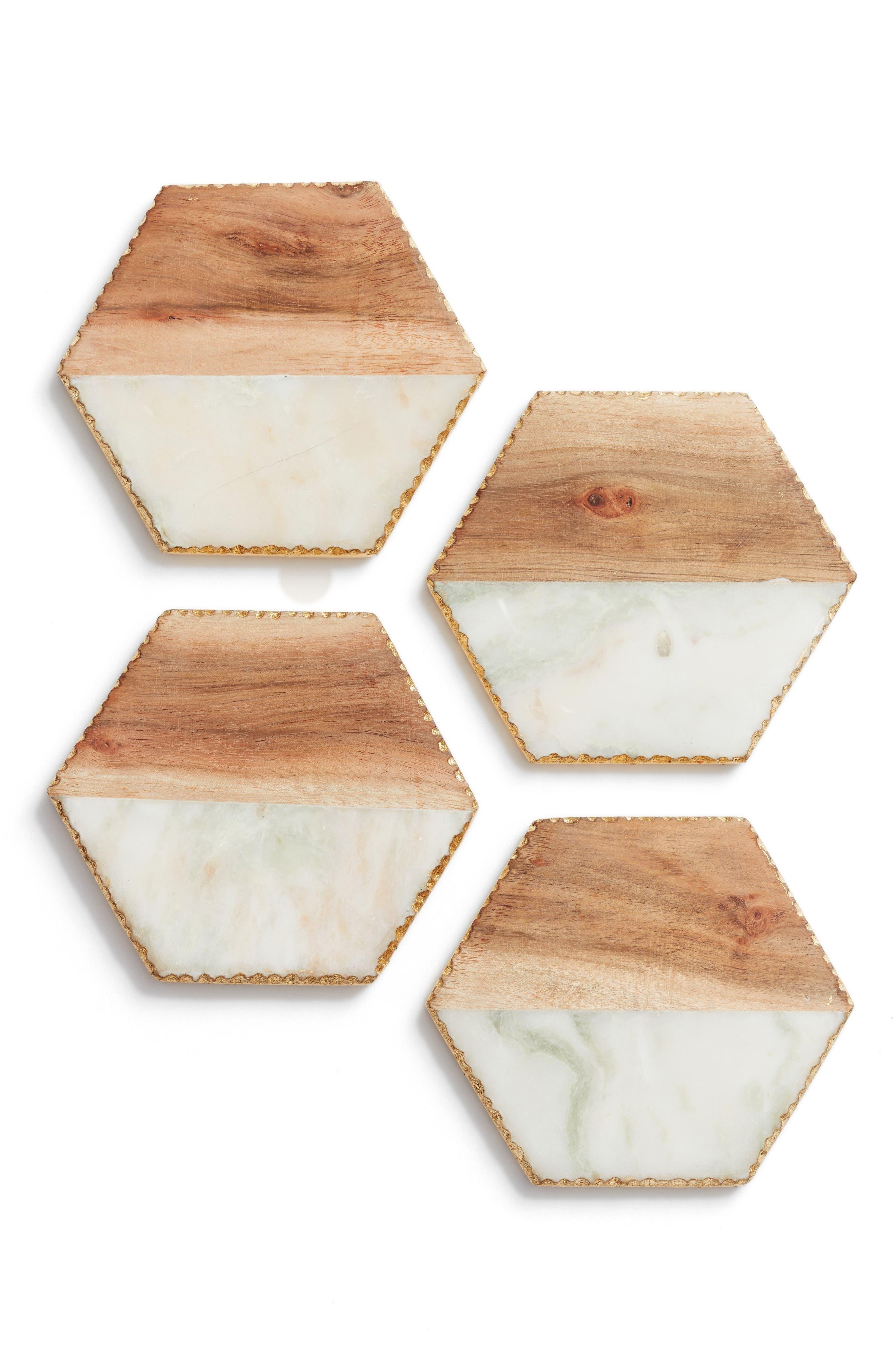 Set of 4 Wood & Marble Coasters,                             Main thumbnail 1, color,                             White Multi