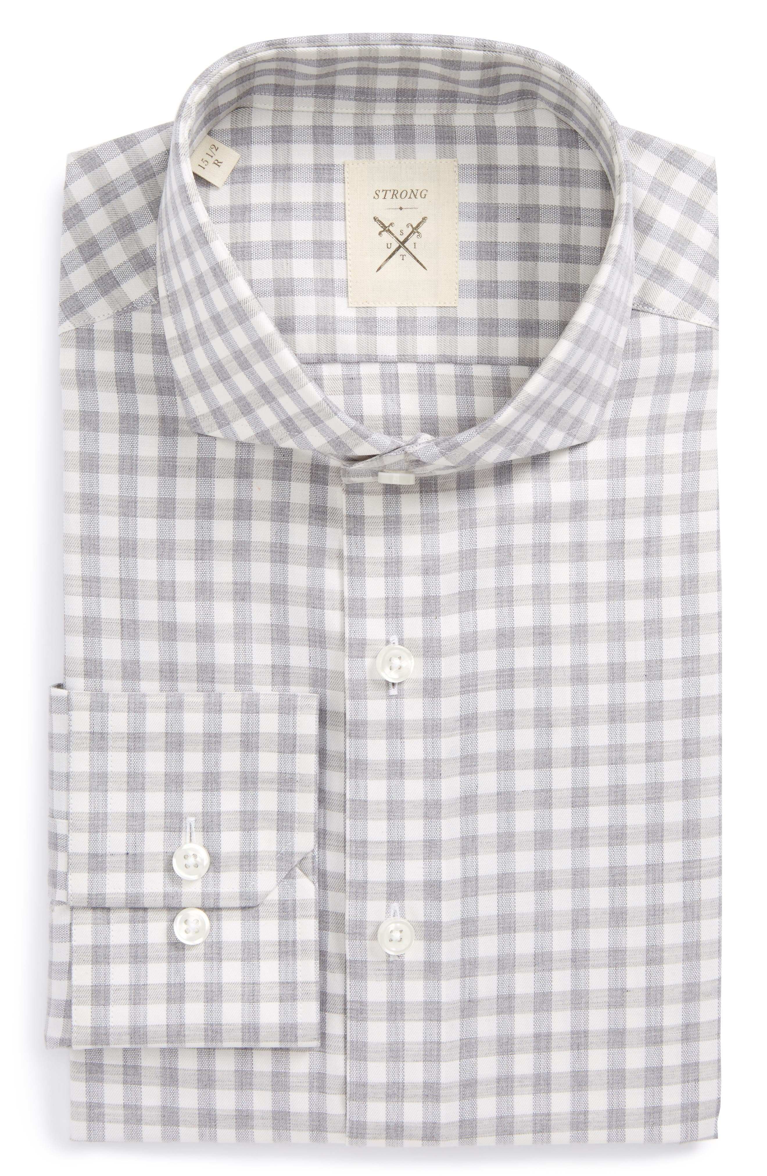 Main Image - Strong Suit Extra Trim Fit Check Dress Shirt