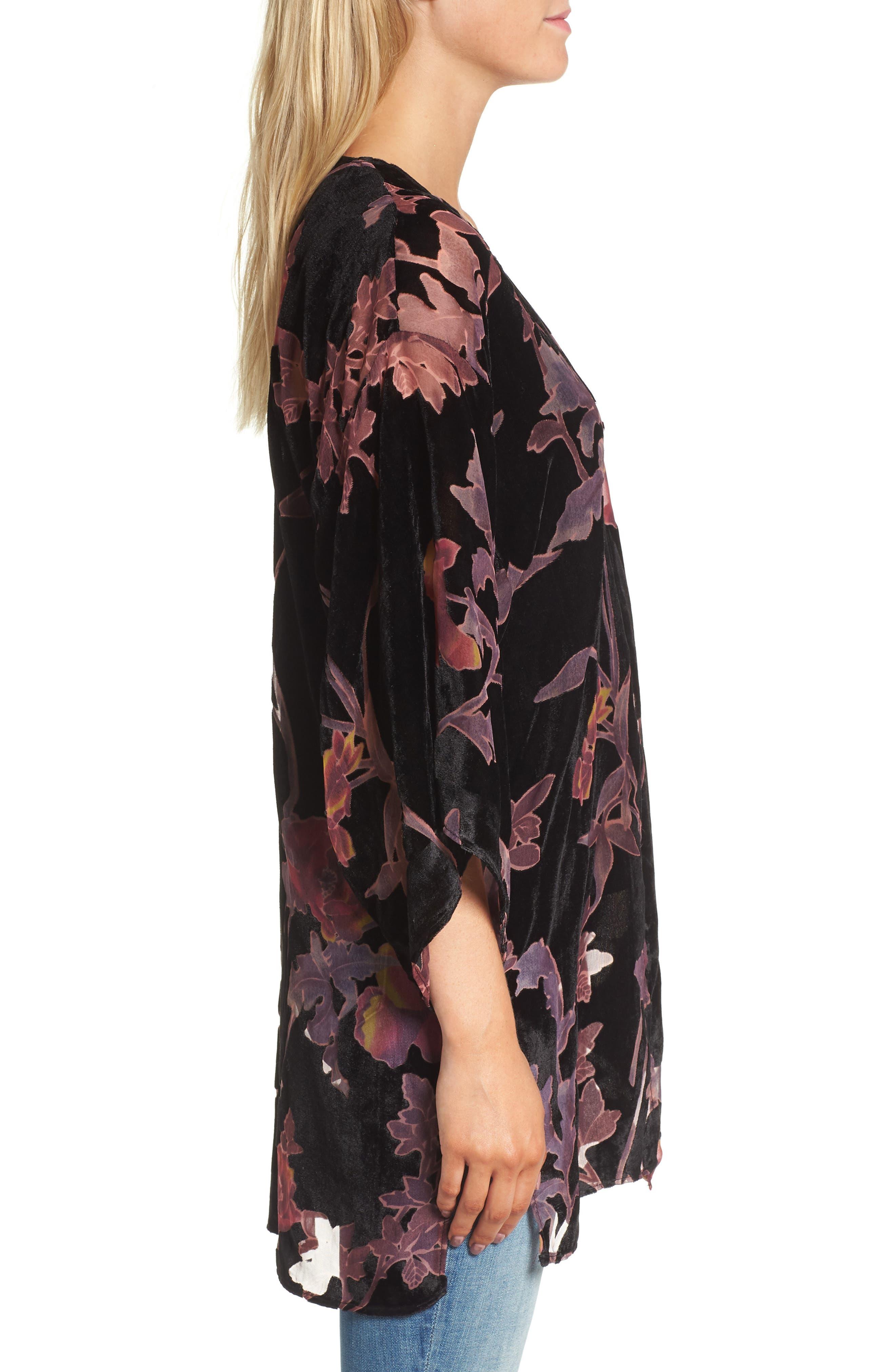 Alternate Image 3  - Hinge Burnout Floral Velvet Kimono
