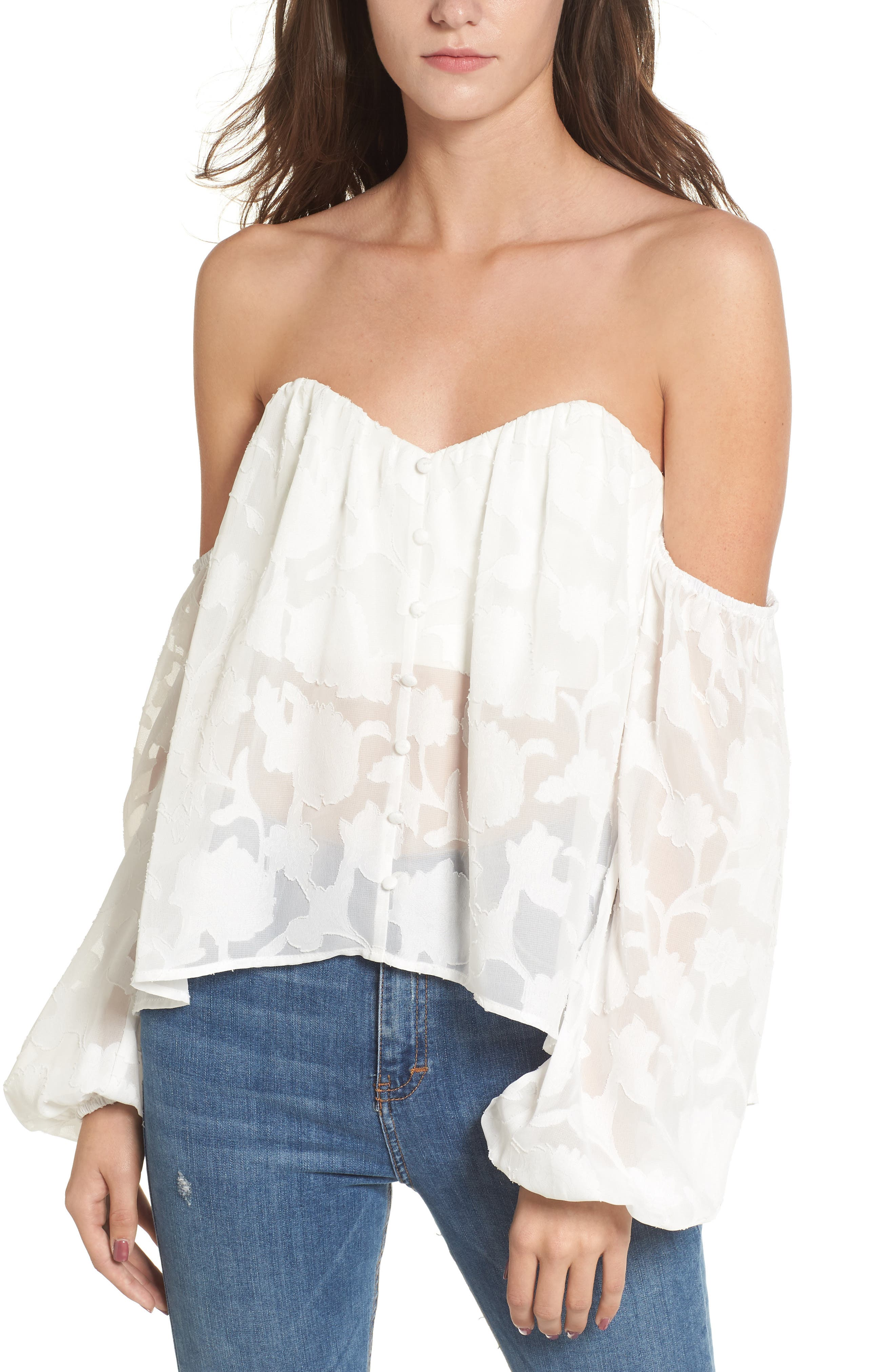 Main Image - 4SI3NNA Burnout Off the Shoulder Top