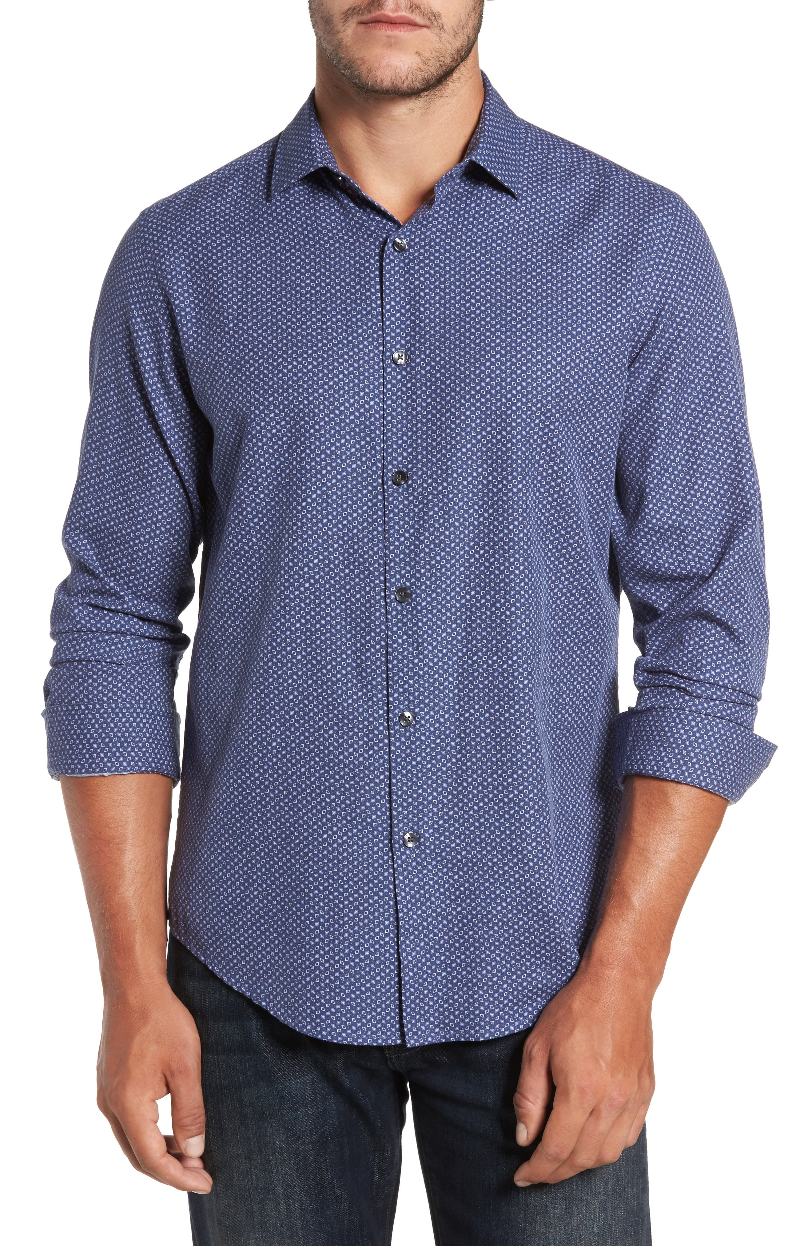 Athens Regular Fit Print Sport Shirt,                         Main,                         color, Blue