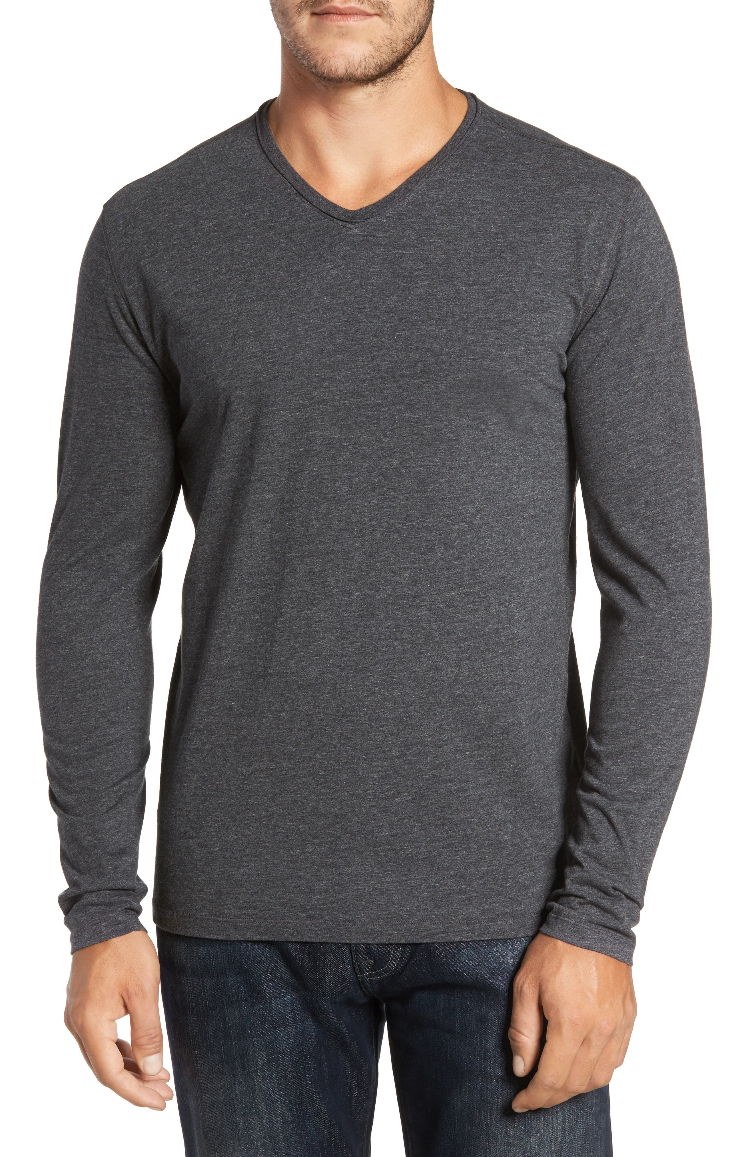 Flynn V-Neck T-Shirt,                             Main thumbnail 1, color,                             Charcoal